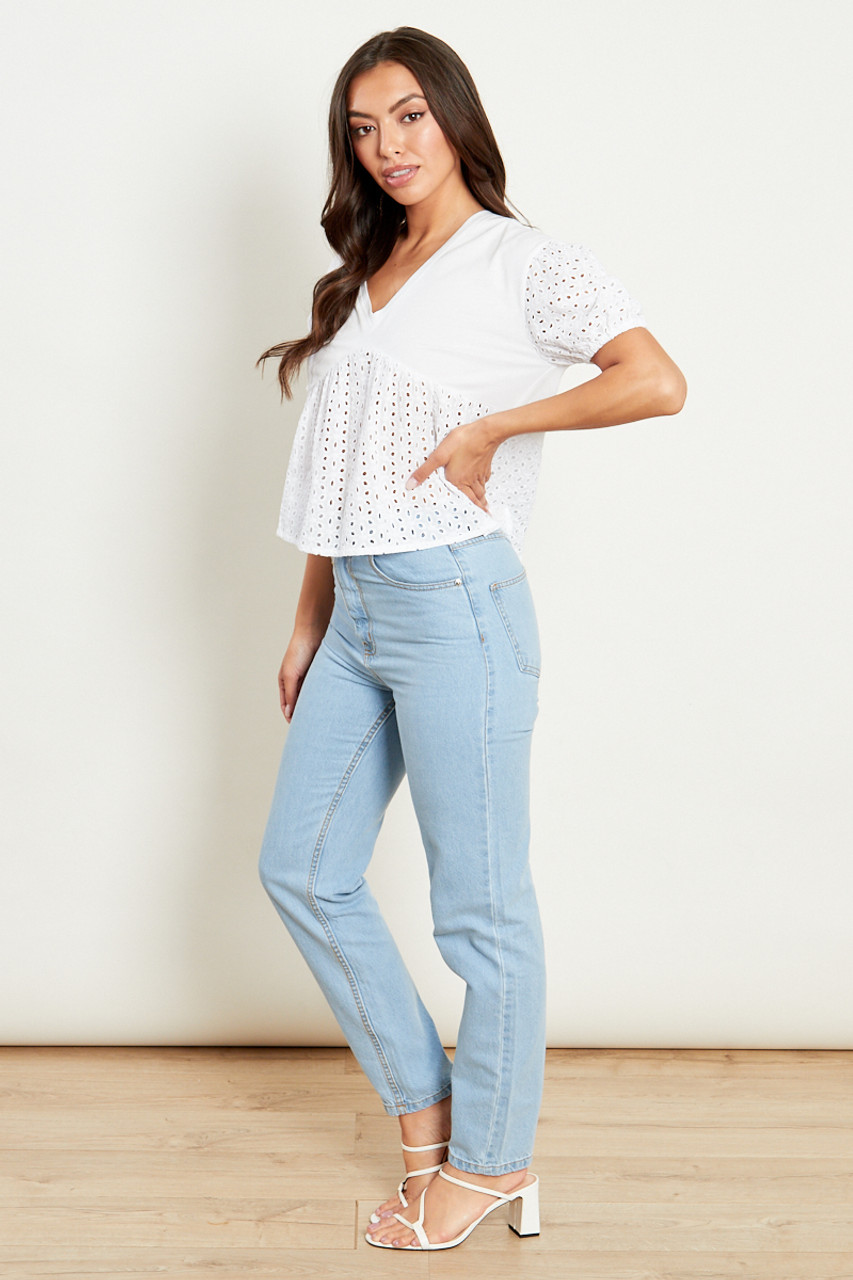 Mix And Match Broderie Smock T Shirt