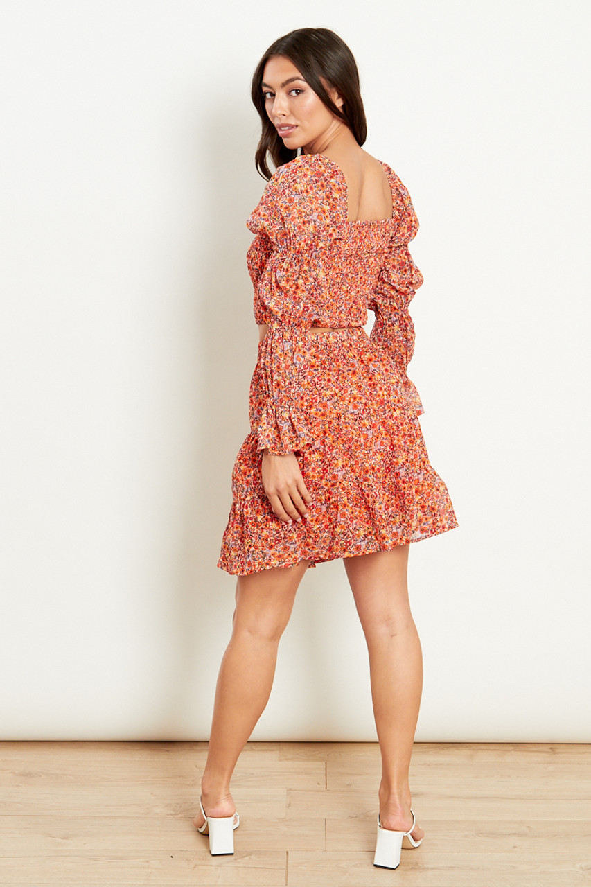 Orange Ditsy Floral Tiered Mini Skirt
