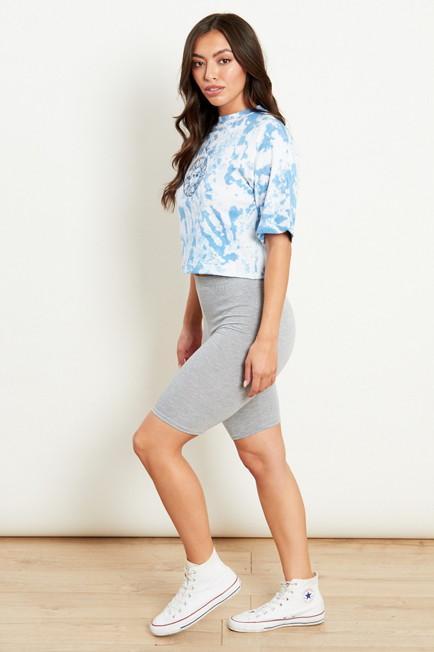 Sky Blue Cropped Tie Dye Tee With Sunshine Graphic