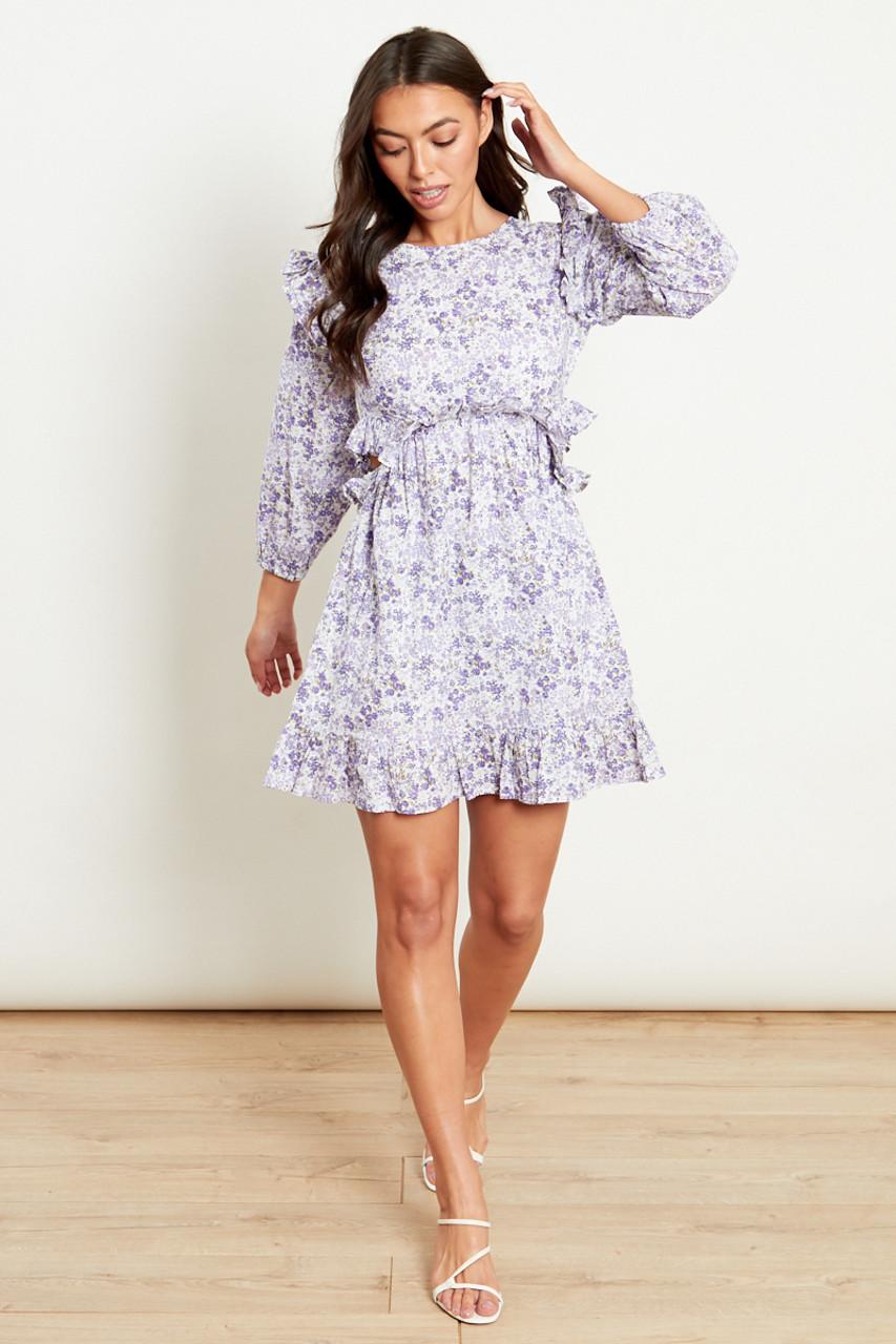 Side Cut Out Ruffle Mini Dress In Lilac Cotton Floral