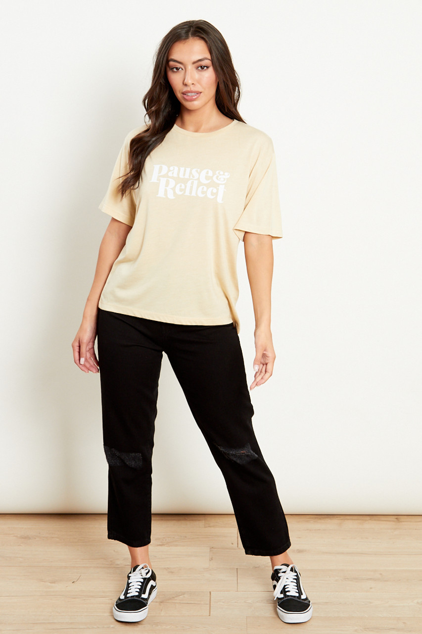 Pause And Reflect Printed Beige T Shirt