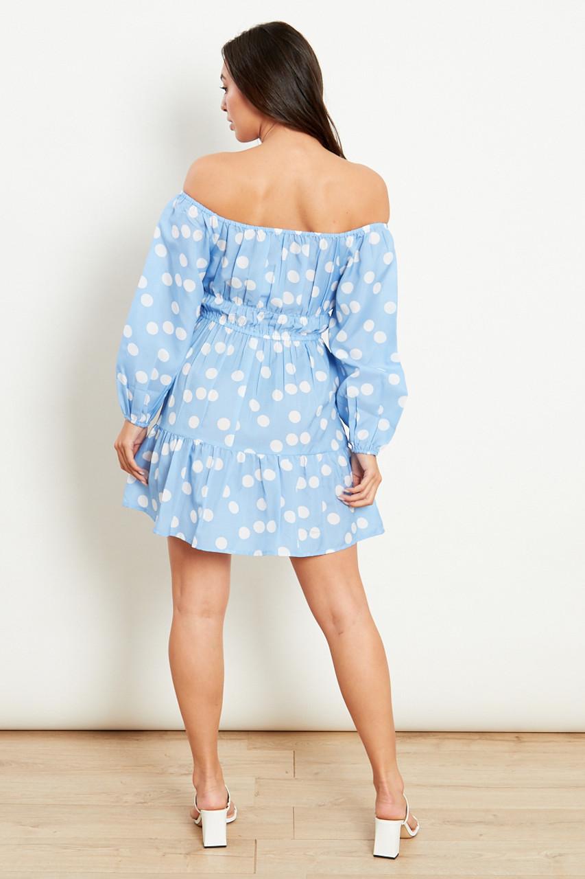 Blue With White Polka Dot Long Sleeves Mini Dress