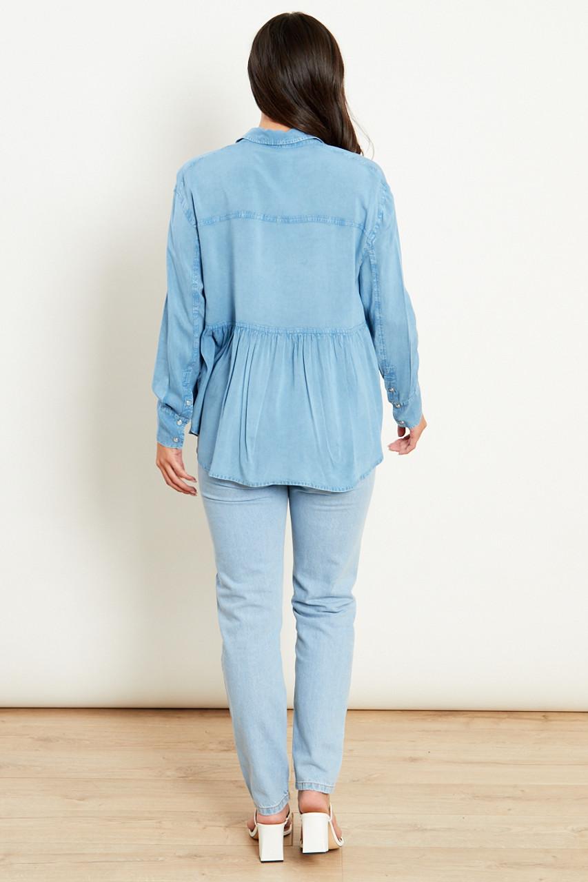 Chambray Oversized Peplum Shirt With Pockets