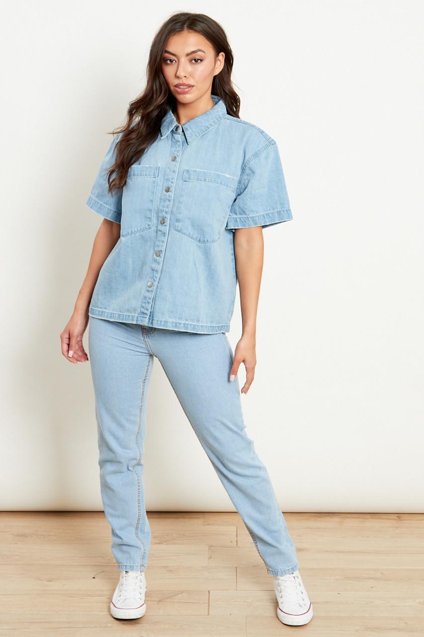 Oversized Boxy Denim Shirt With Patch Pockets