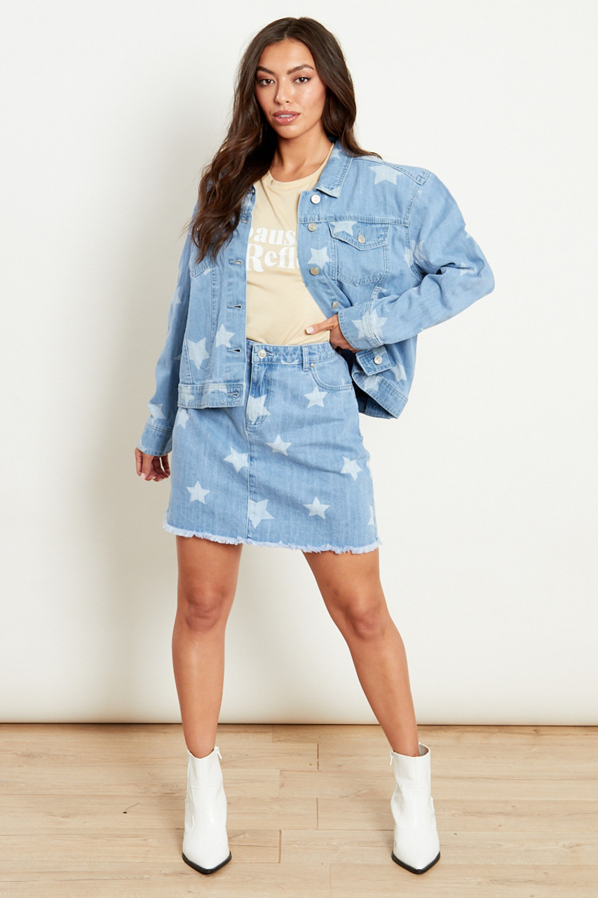 Oversized Denim Jacket With All Over Star Print