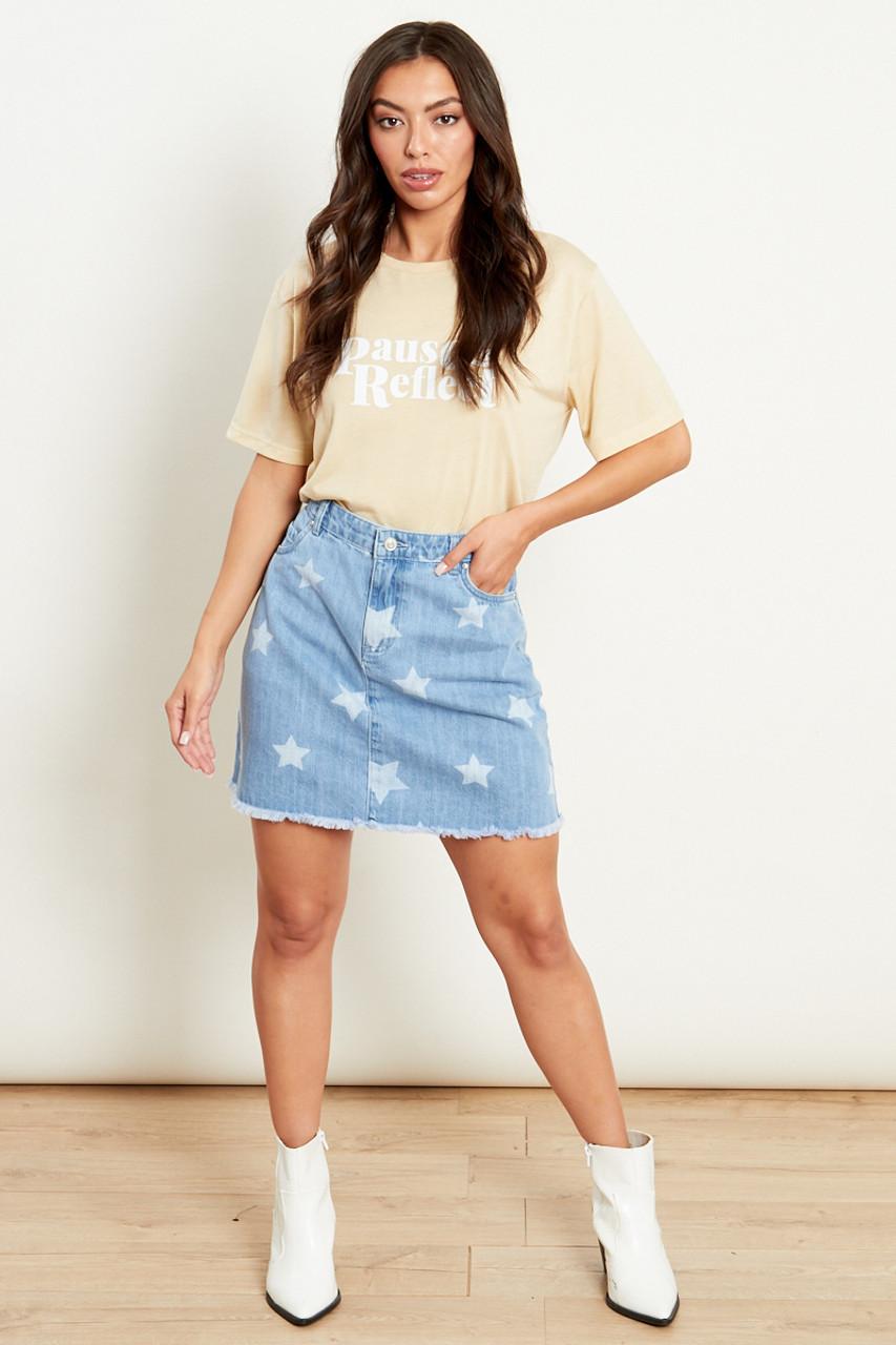 A Line Denim Mini Skirt With Star Print