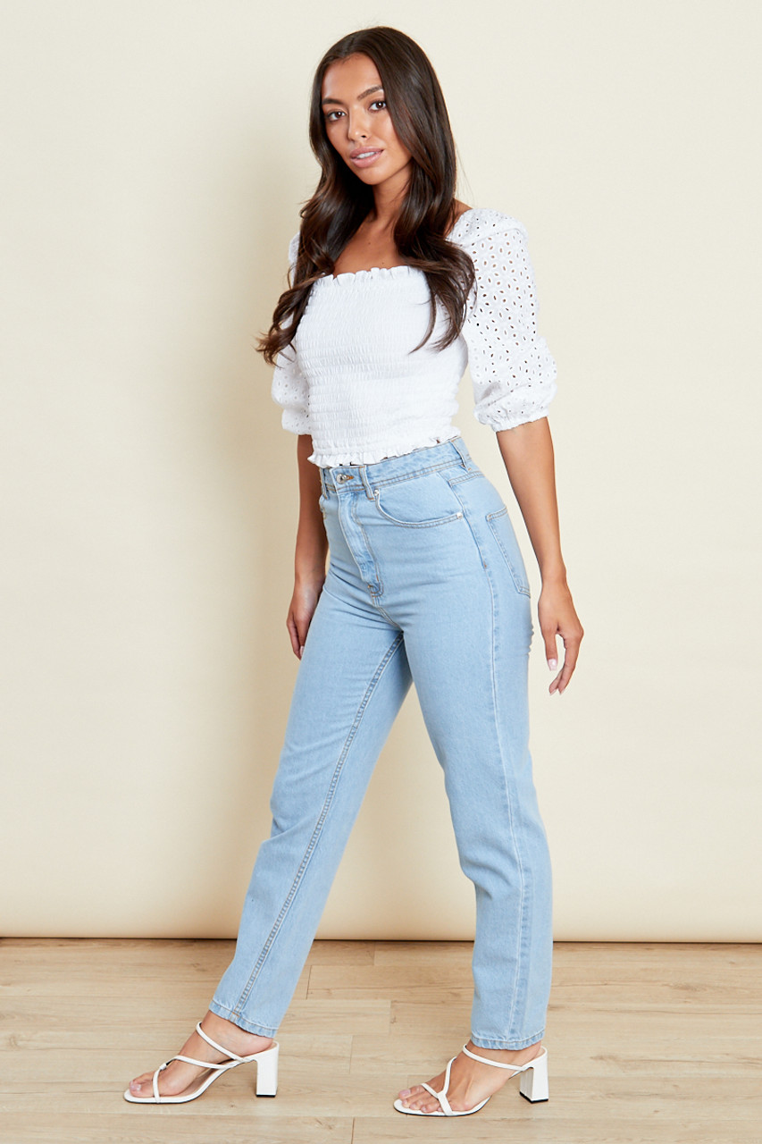 Shirred Body Jersey Top With Contrast Broderie Sleeves