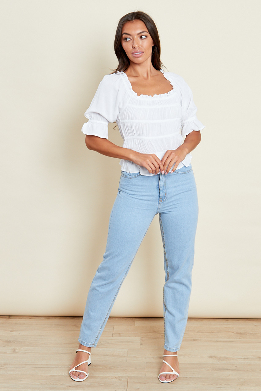 White Ruched Bardot Top