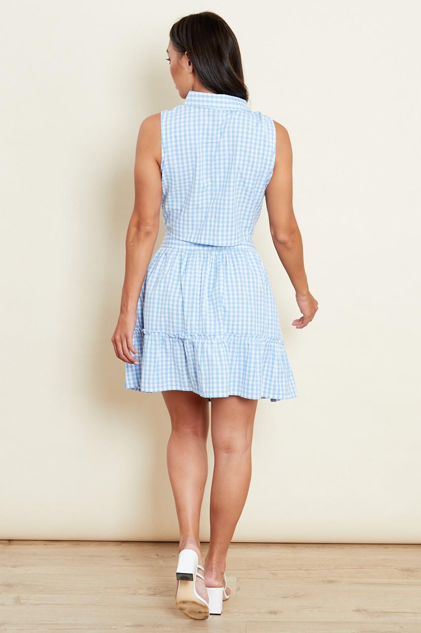 Blue Gingham Sleeveless Tie Front Shirt