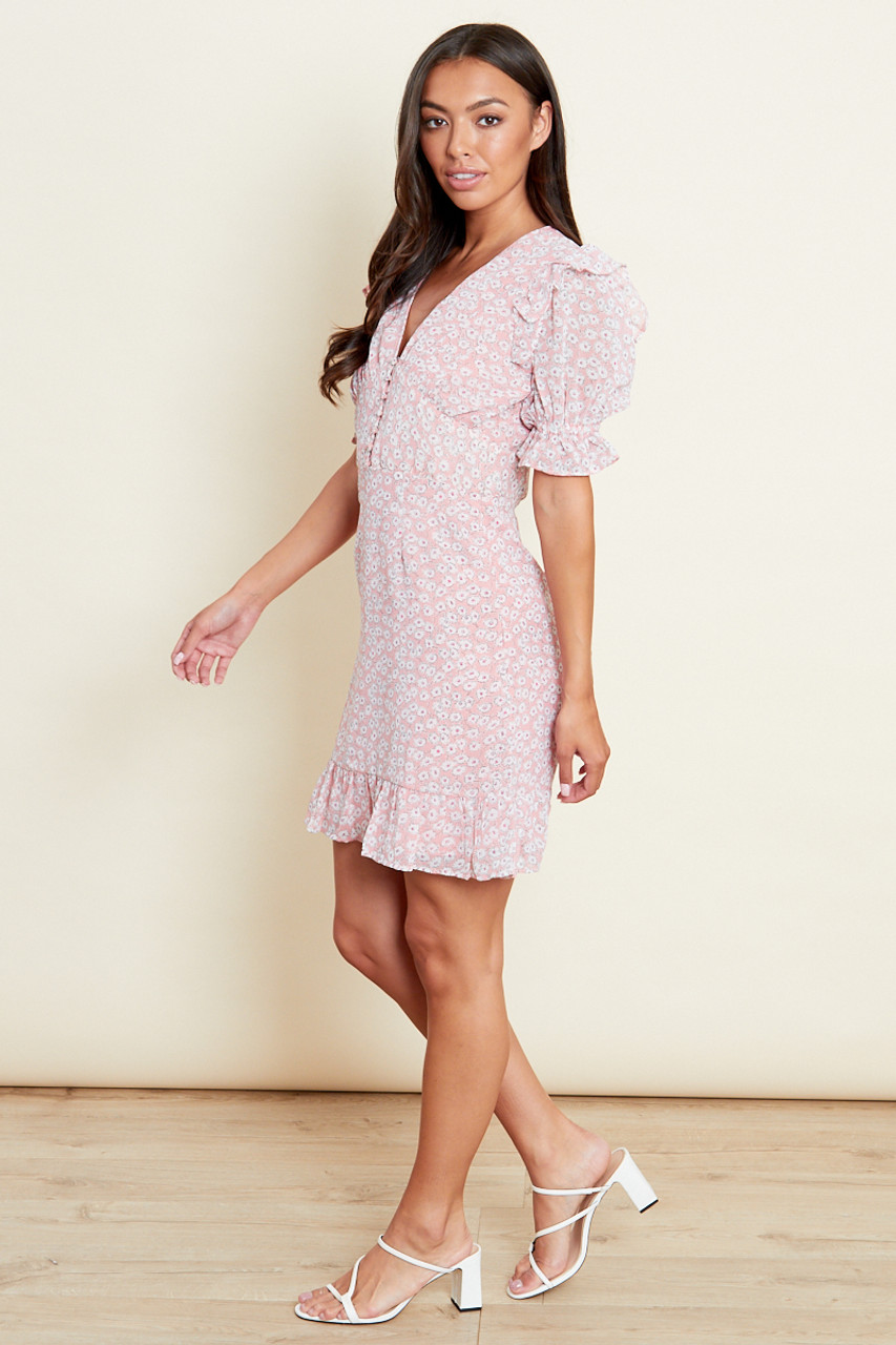 Ruffle Frill Mini Dress In Pink Ggt Floral