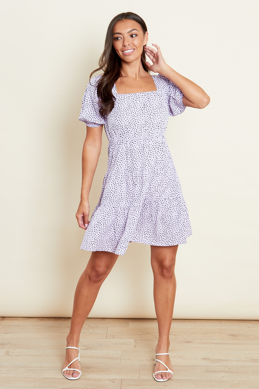 Lilac Square Neck Tiered Skater Dress