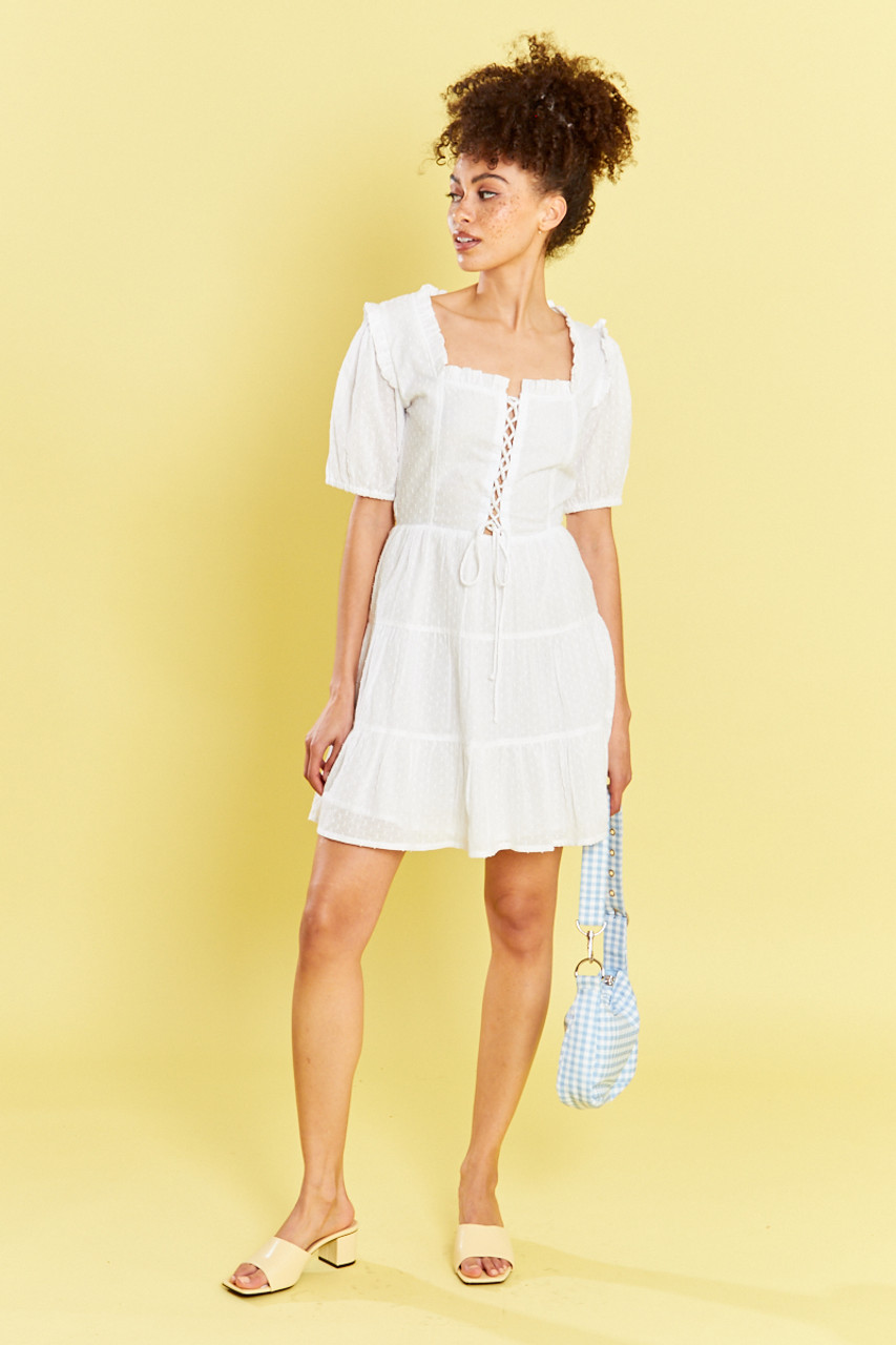 White Lace  Up Dobby Mini Dress With Tiered Full Skirt And Puff Sleeves