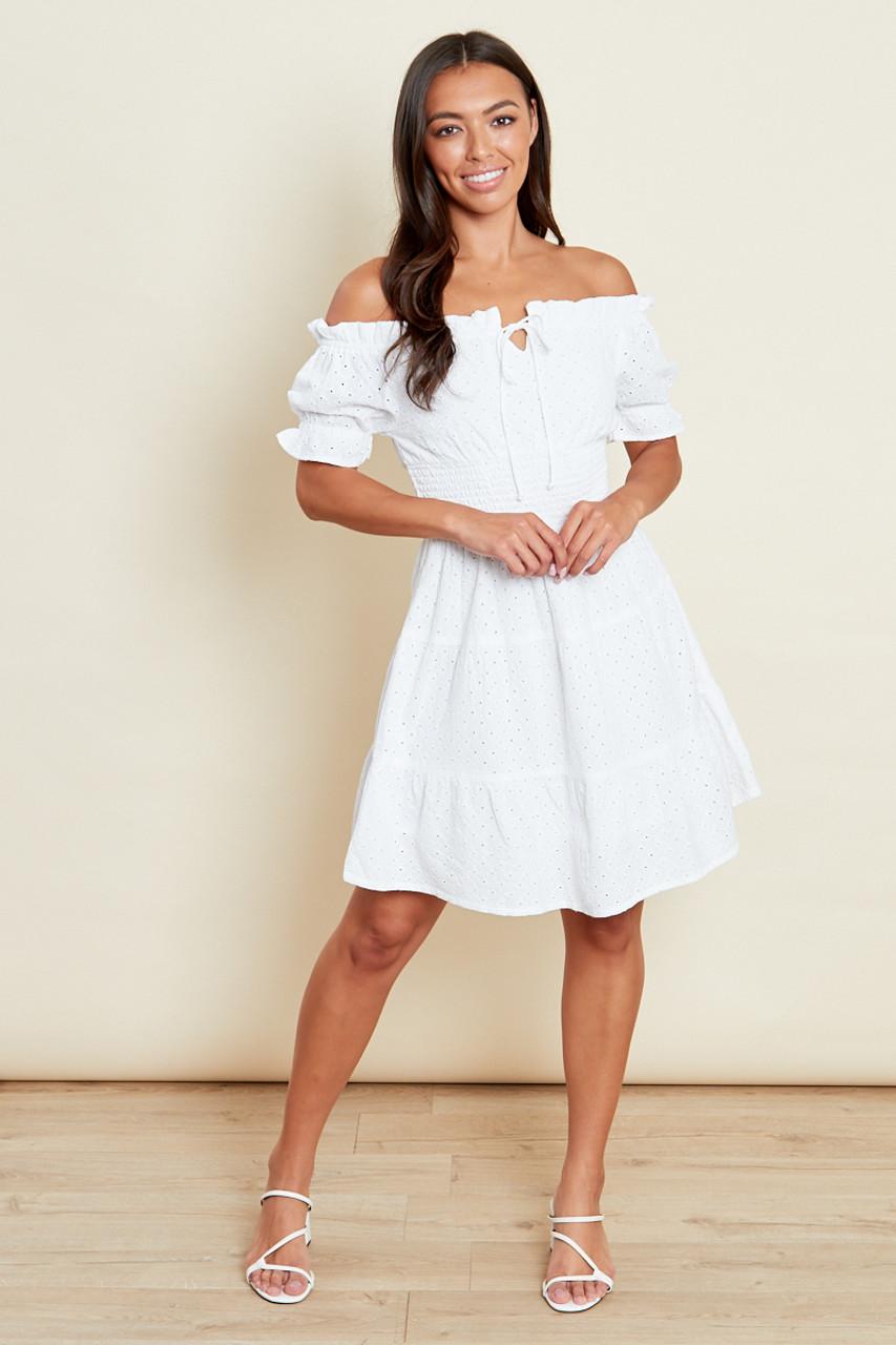 White Broderie Tiered Shirred Waist Mini Bardot Dress