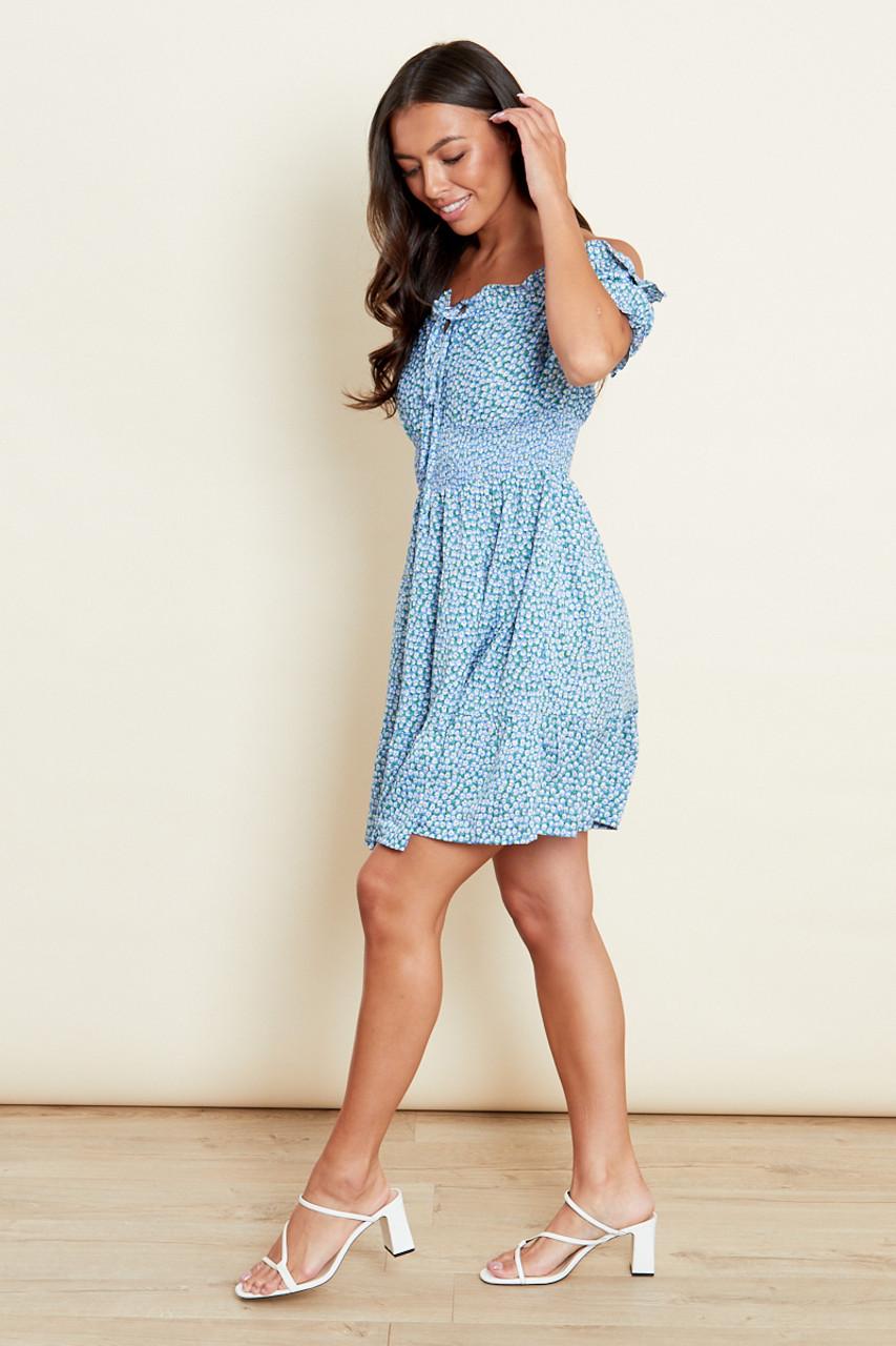 Blue Tiered Shirred Waist Mini Bardot Dress