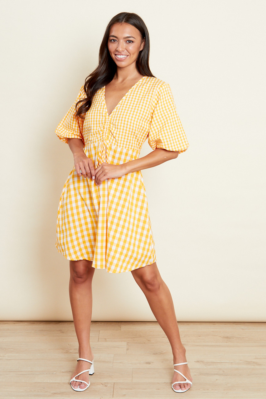 Yellow Gingham Ruched Front Puff Sleeve Skater Dress