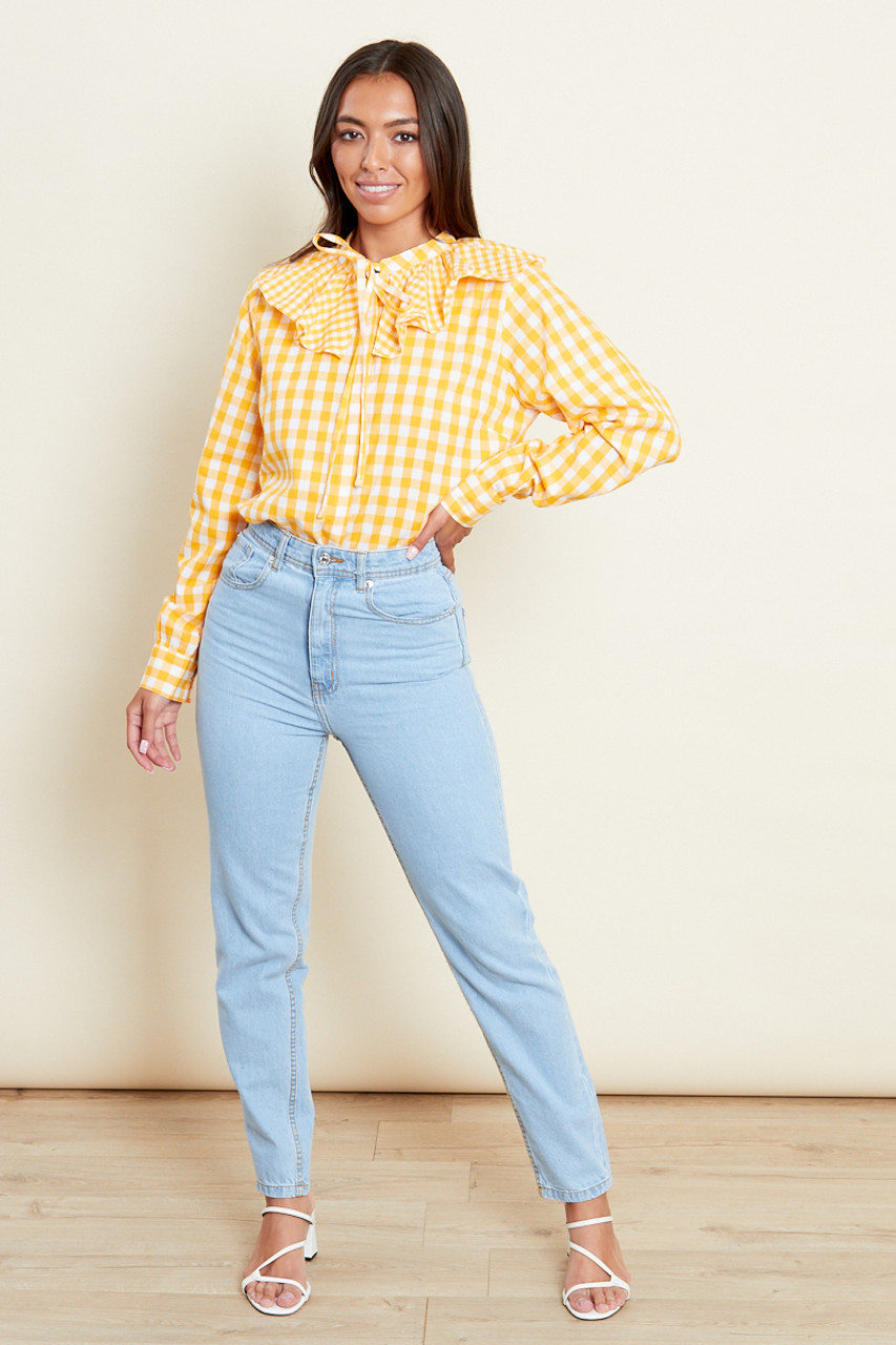Yellow Gingham Ruffle Collar Shirt