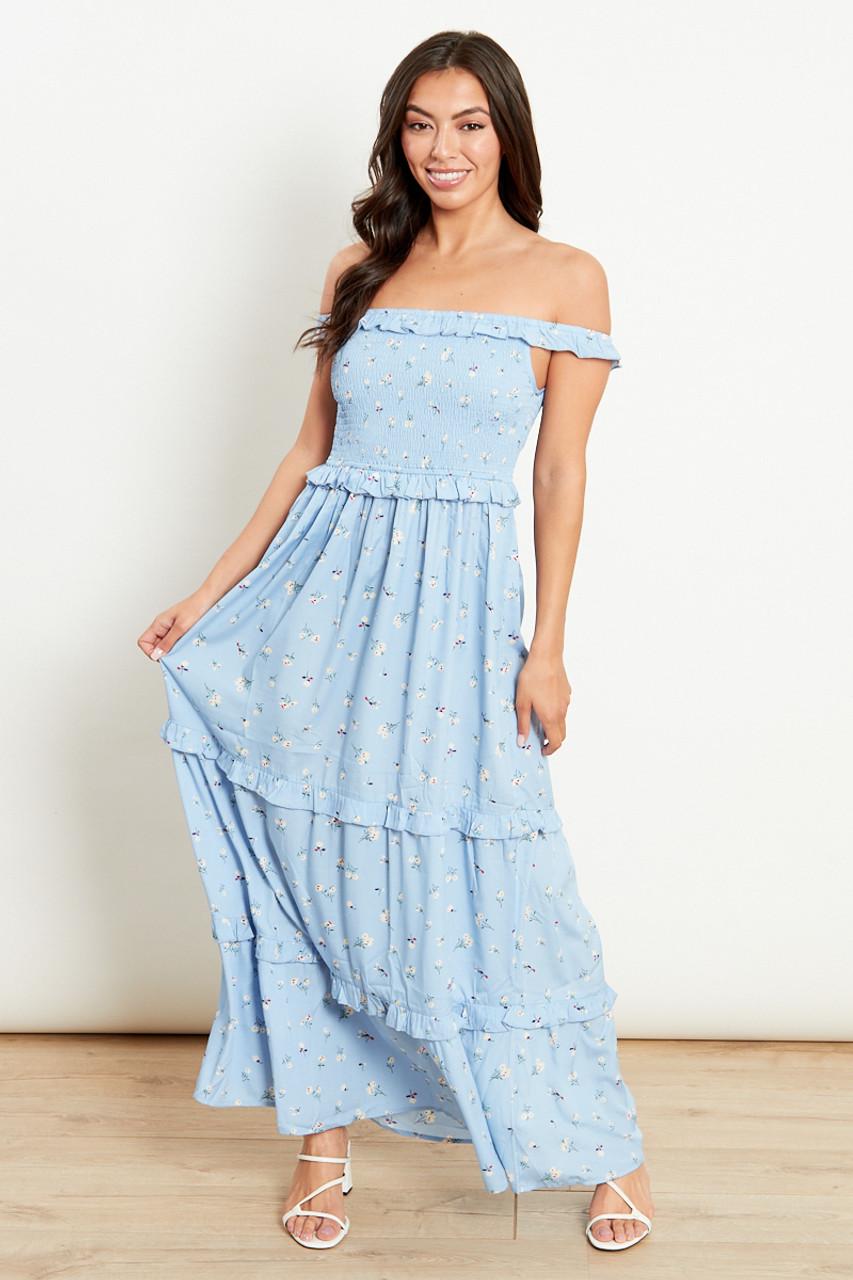 Dusty Blue Bardot Frill Tiered Maxi Dress