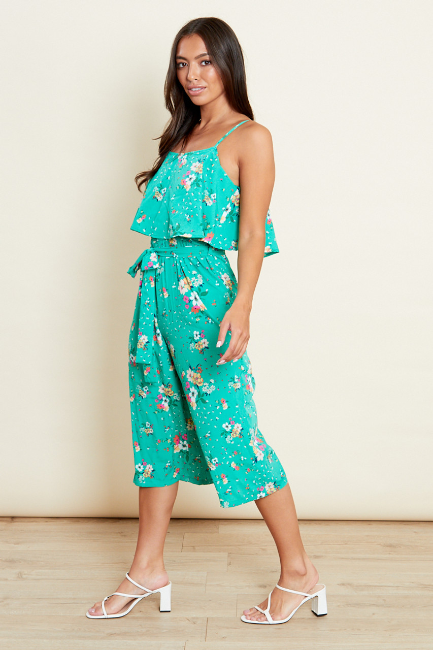 Green Floral Double Layer Culotte Jumpsuit