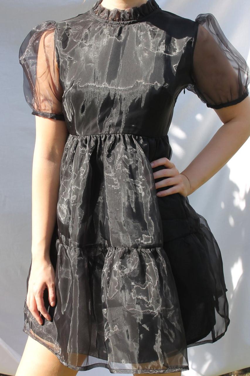 Organza Tie Back Mini Smock Dress