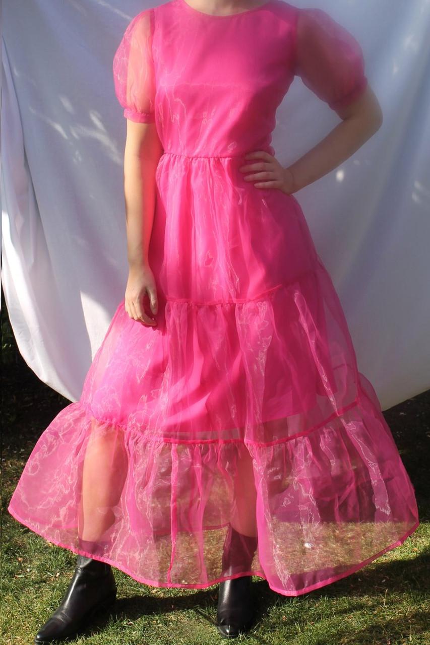 Pink Organza Tie Back Midi Smock Dress