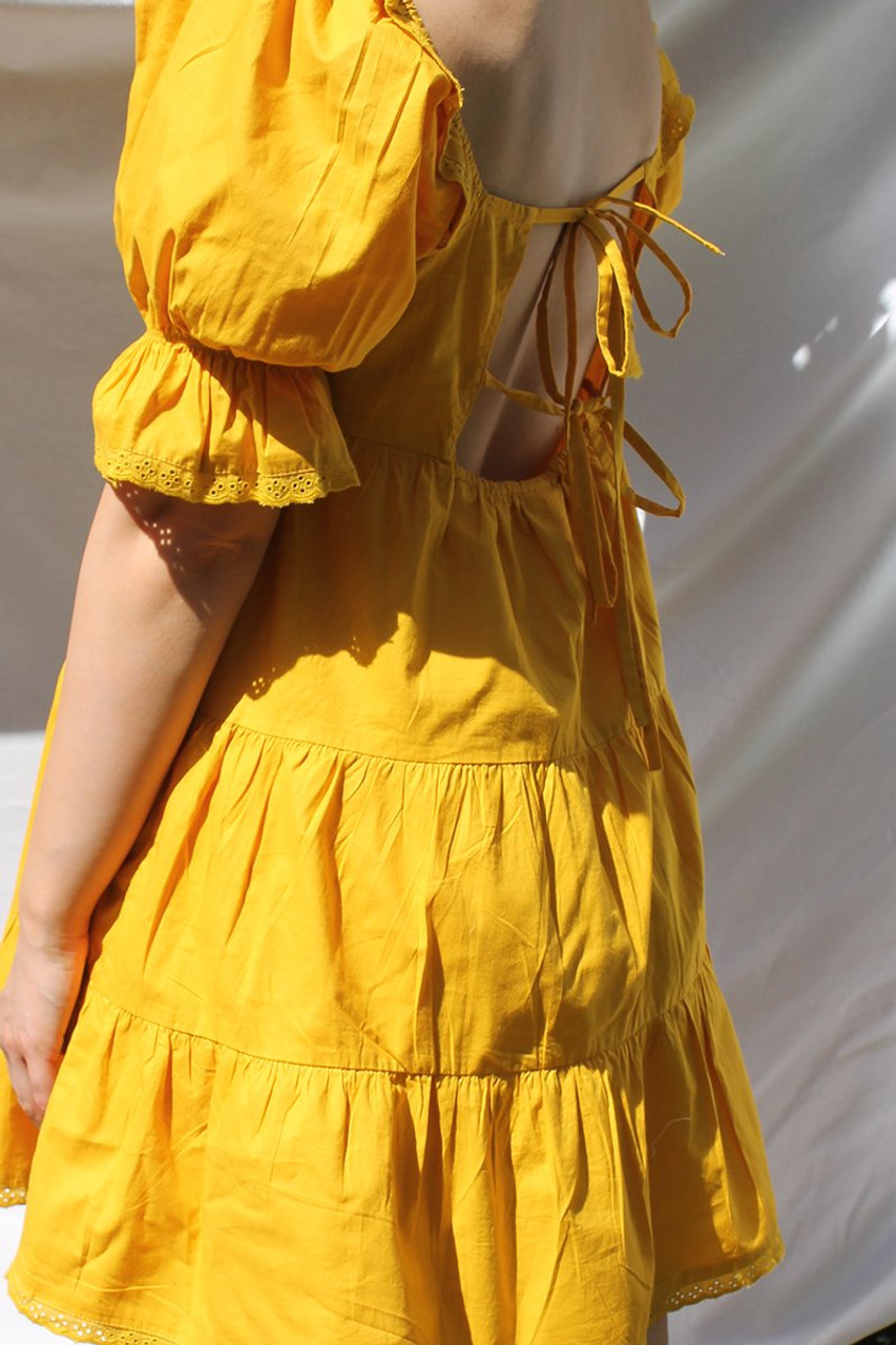 Yellow Mini Smock Tiered Dress