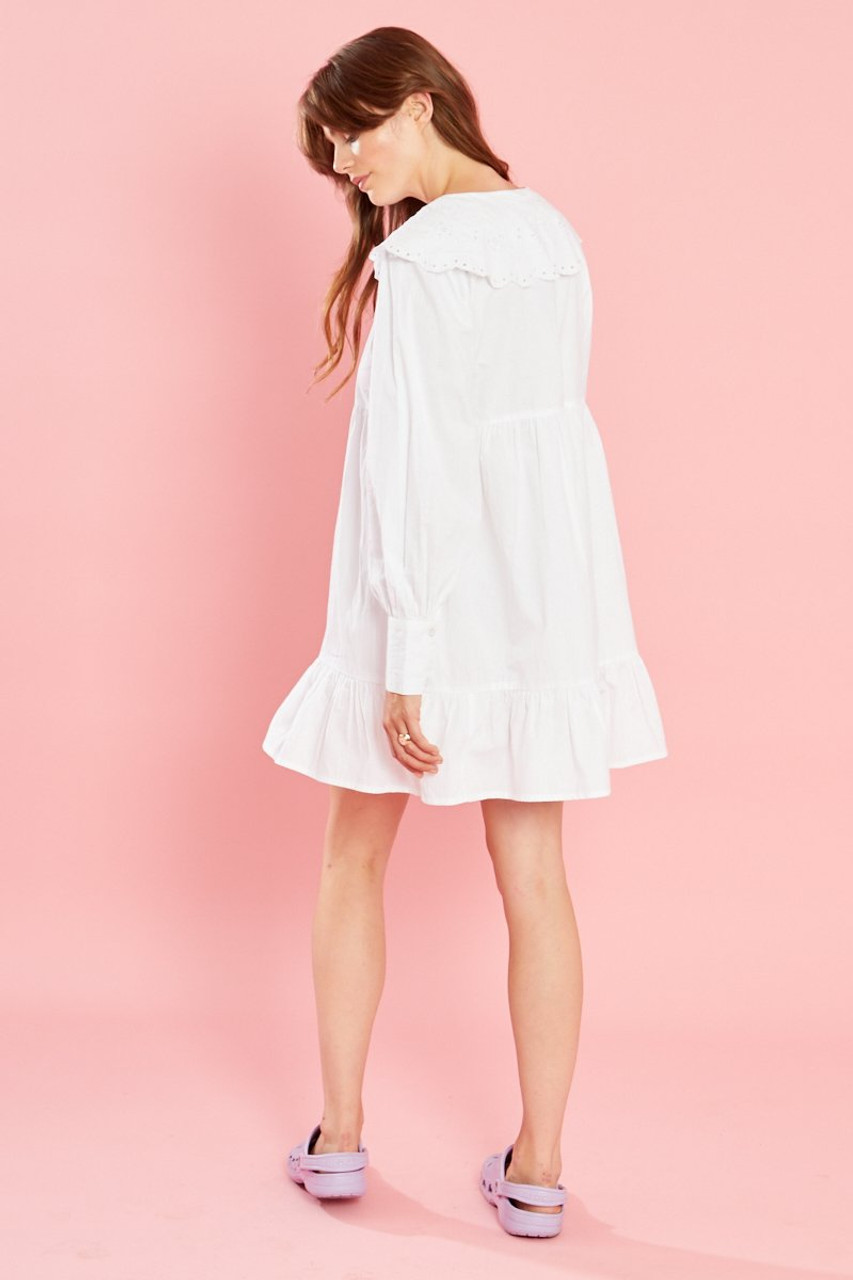 Nelly Shirt Dress With Broderie - White