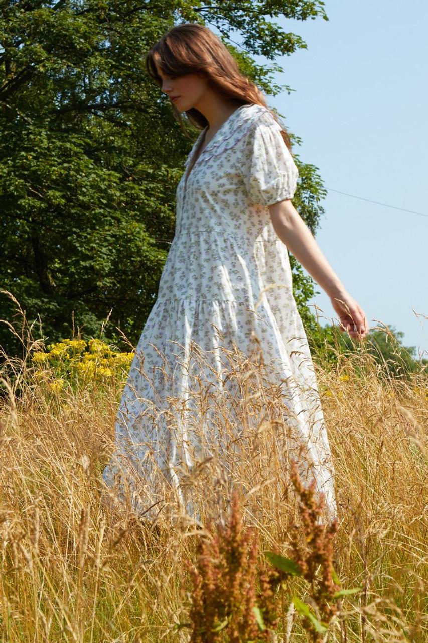 Ethel Midi Dress With Scalloped Collar - Cream