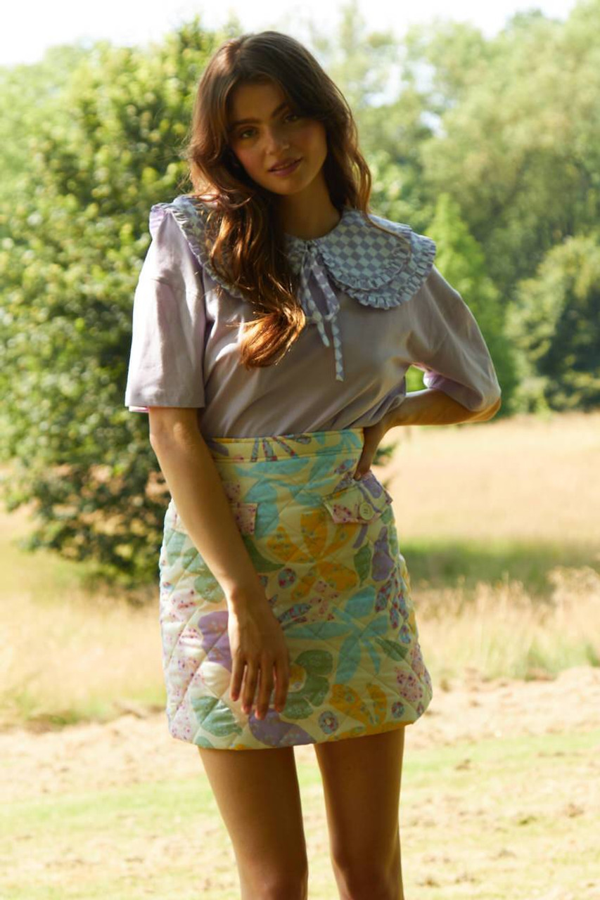 Marianne Floral Quilted Mini Skirt - Cream