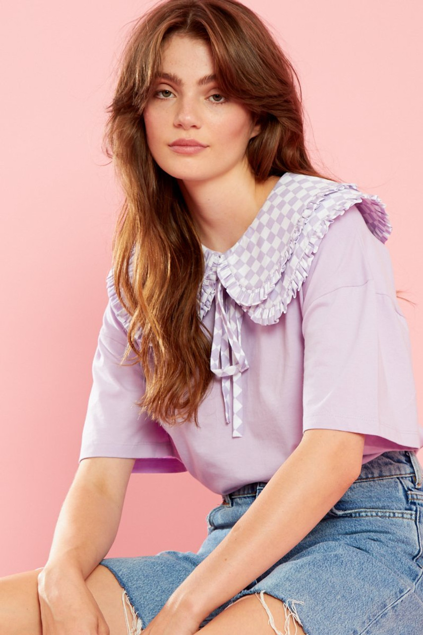Poppy Frill Collar Oversized Tee - Purple