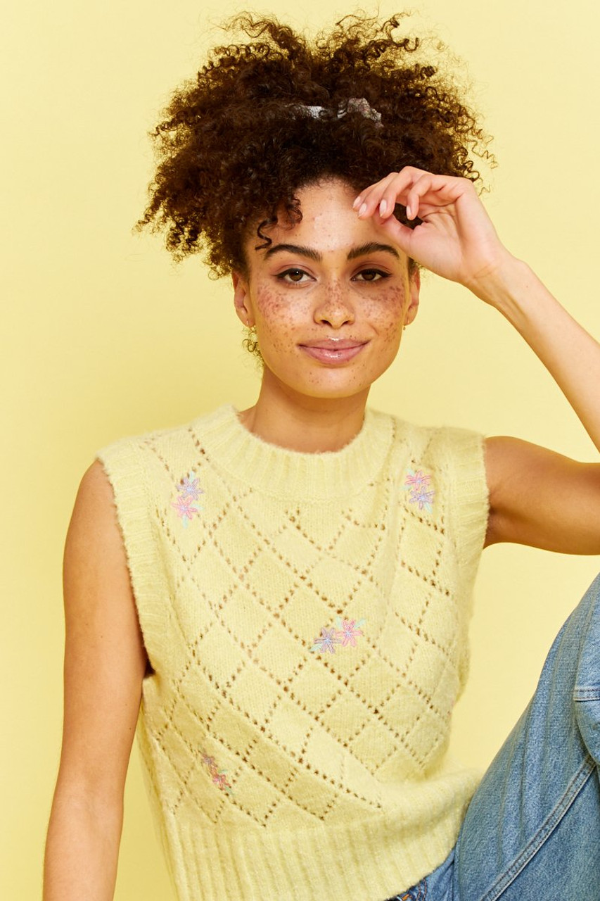 Knitted Sweater Vest with Floral Embroidery - Yellow