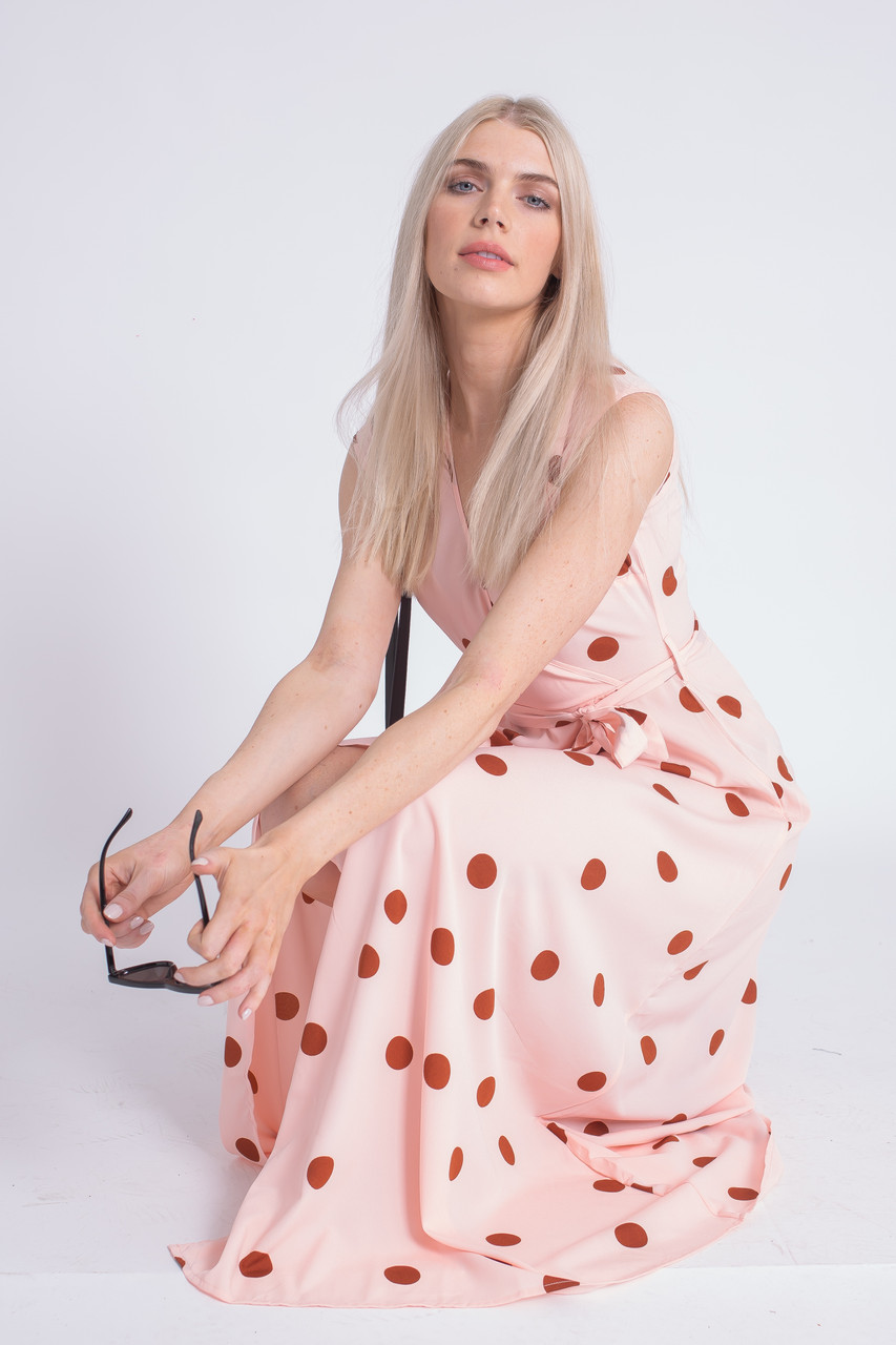 Wrap Front Midi Dress In Large Scale Spot Print