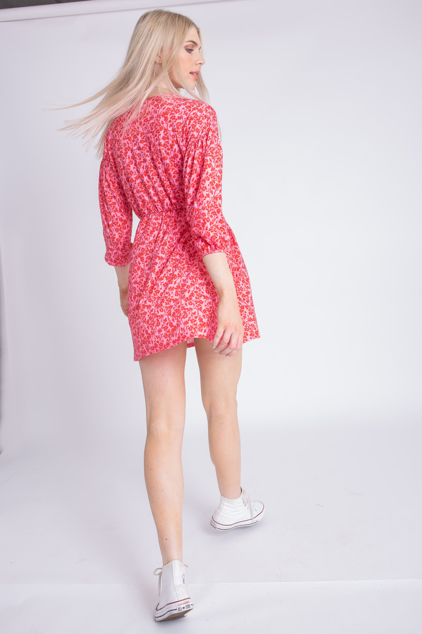 Floral Print Jersey Mini Dress With Elbow Length Sleeves