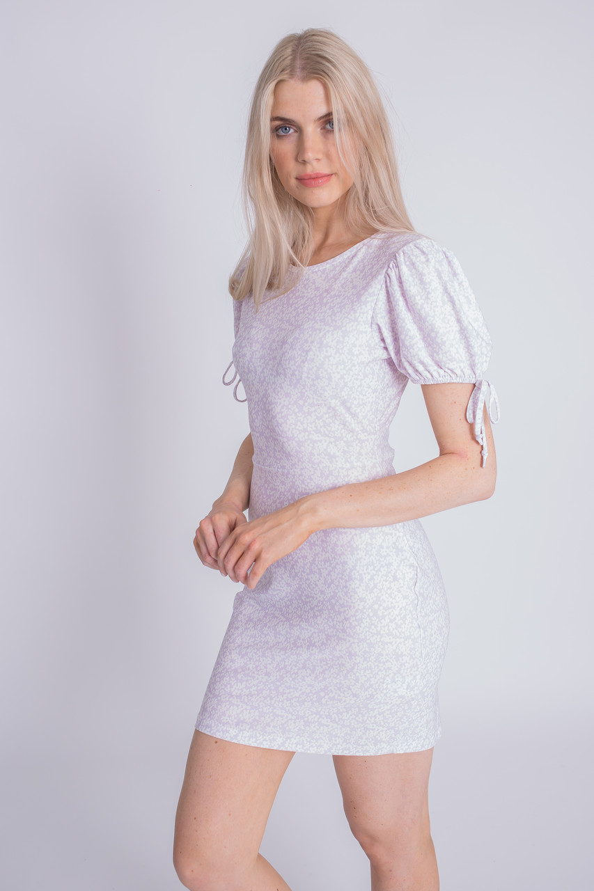 Ditsy Print Jersey Mini Dress With Tie Sleeves