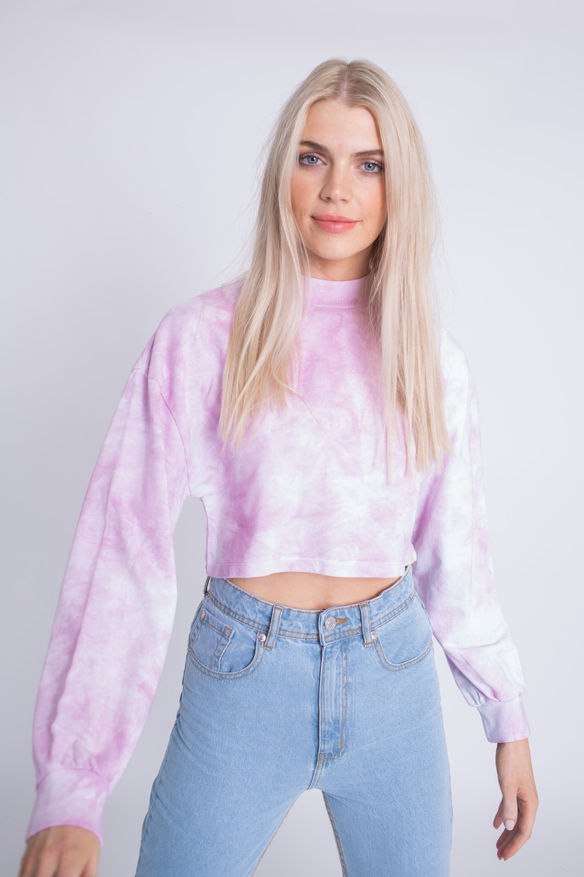 Pink Tie Dye Cropped Sweat Top with Full Sleeves
