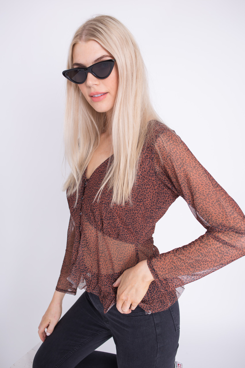 Animal Print Mesh Top With Button Front