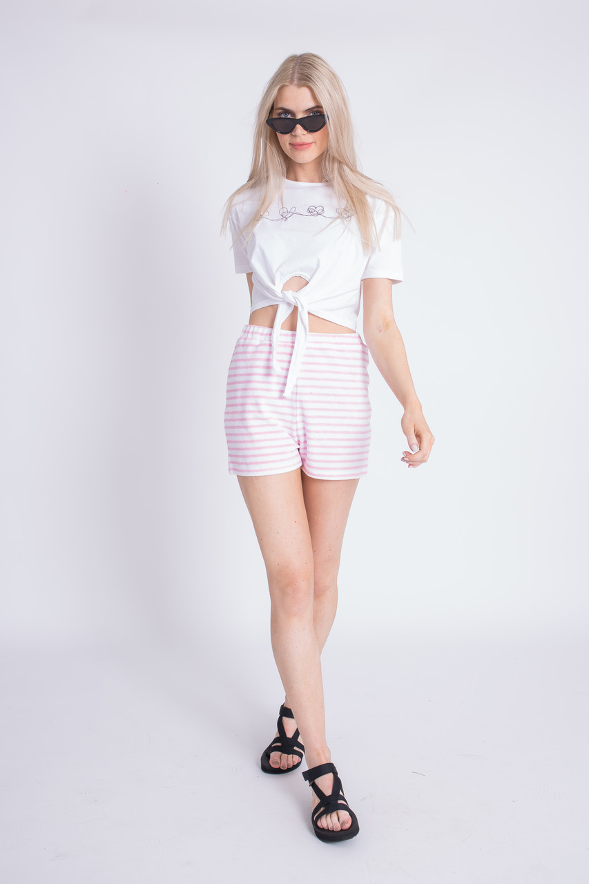 Pink And White Stripe Toweling Fabric Short