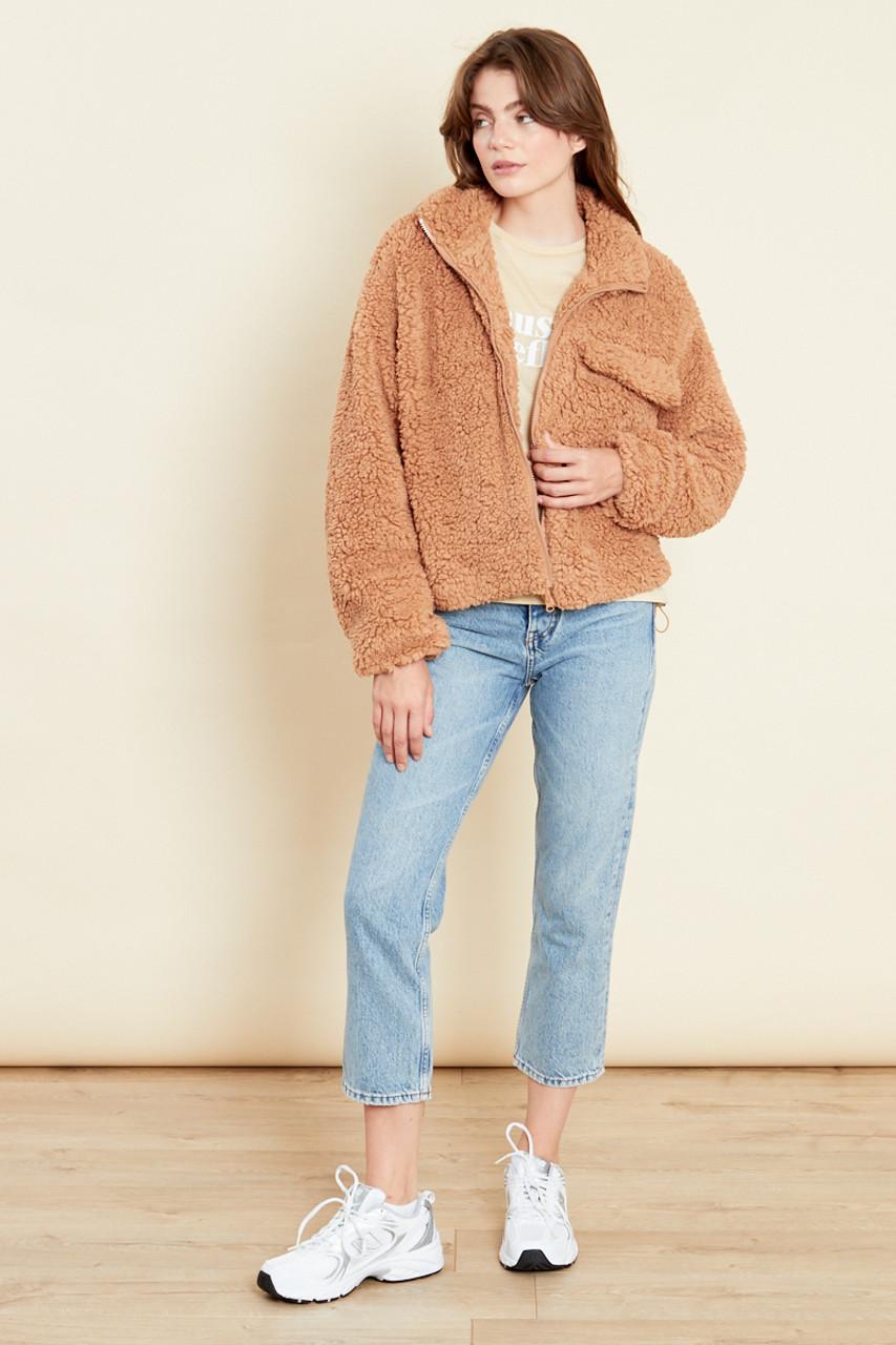 Camel Oversized Jacket With Pocket In Teddy Fleece