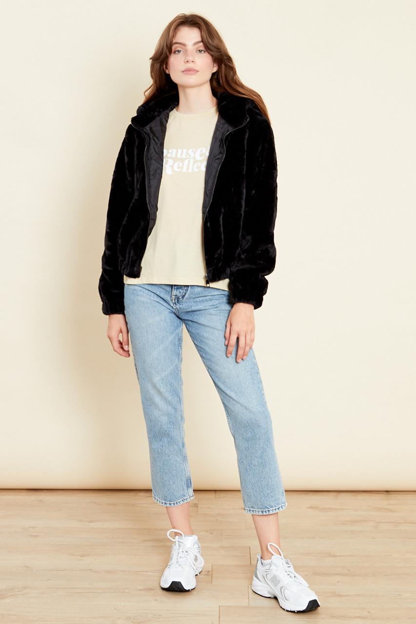 Black Oversized Hooded Jacket In Faux Fur