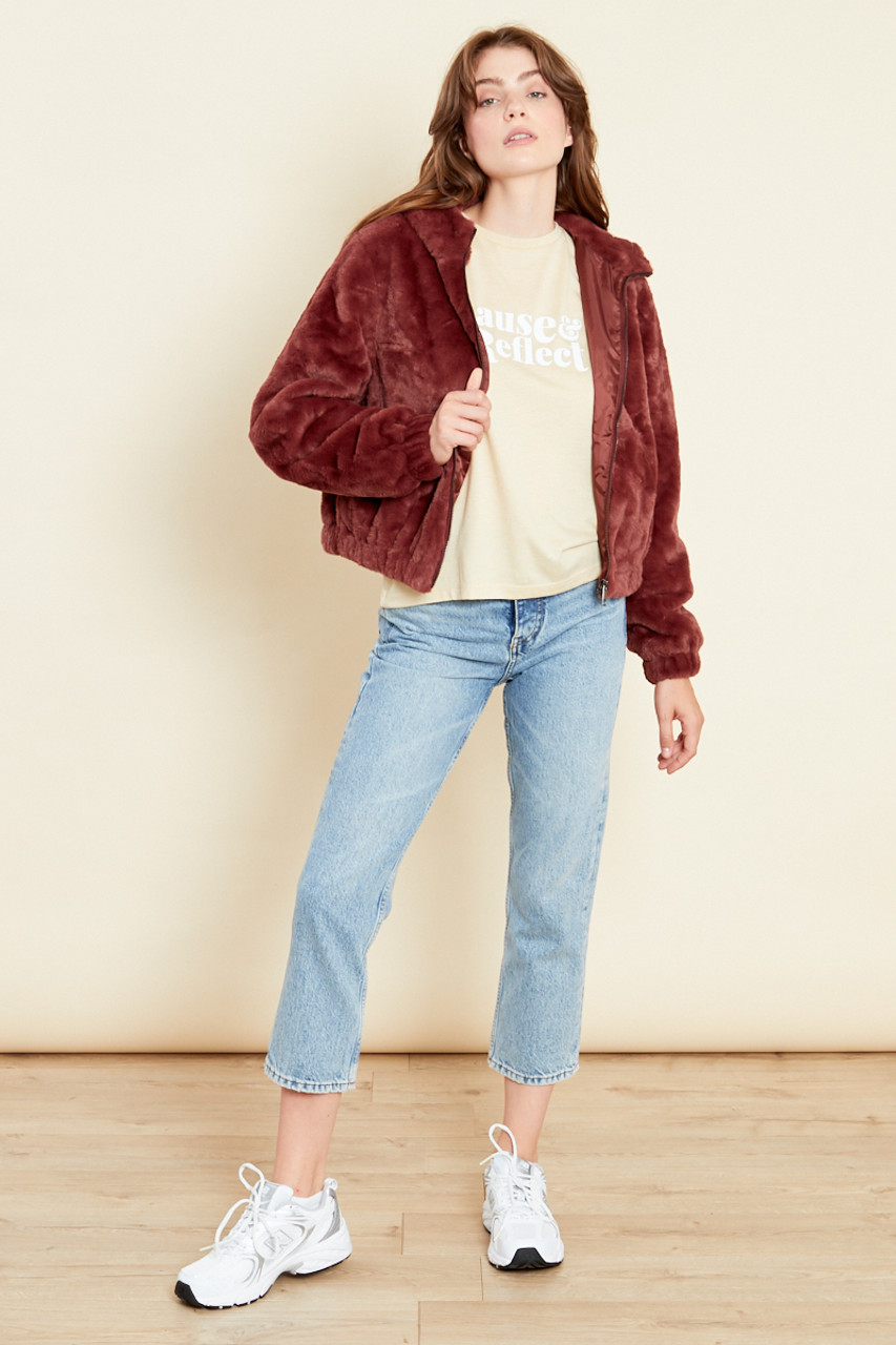 Chocolate Oversized Hooded Jacket In Faux Fur