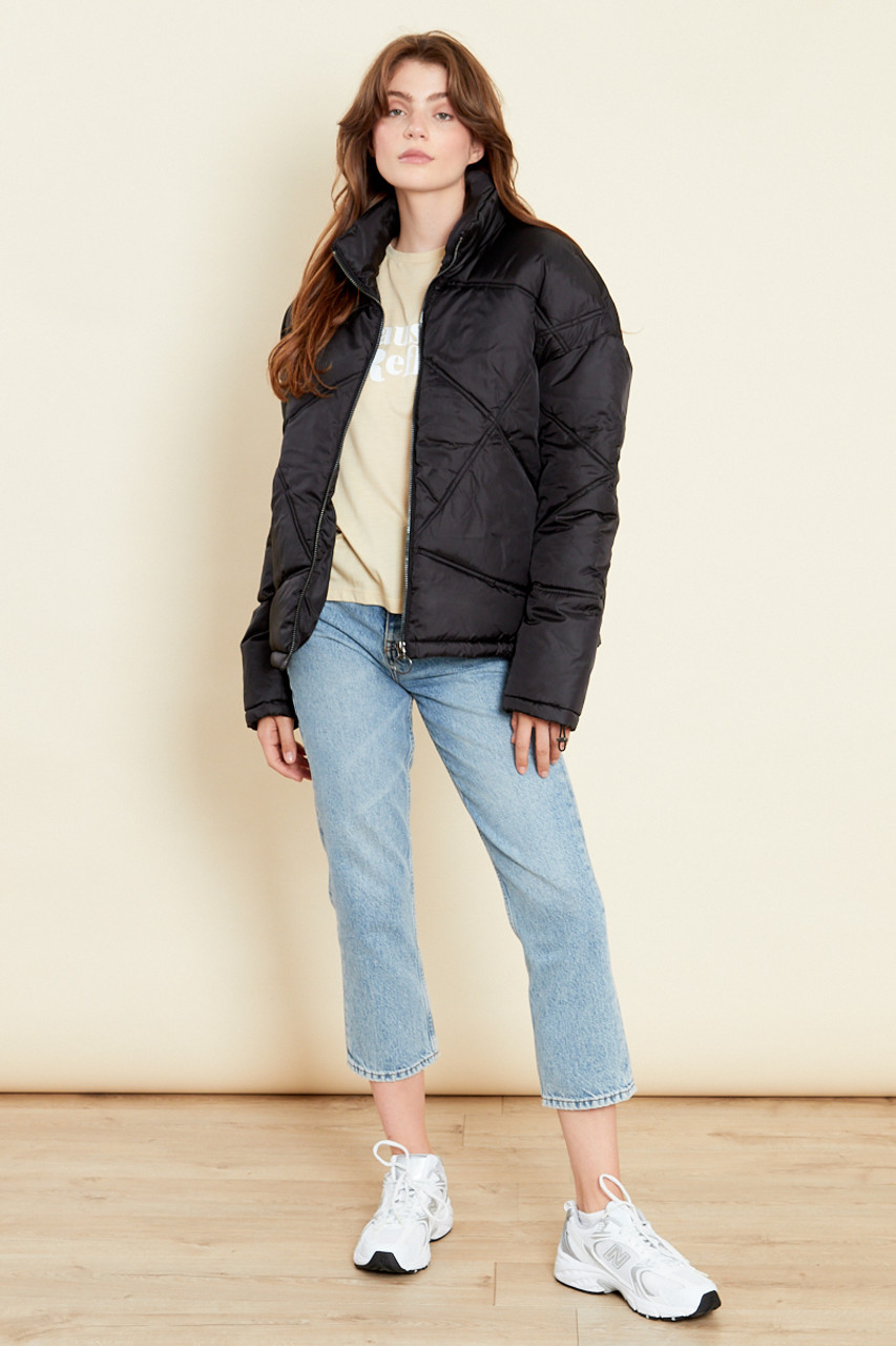Black Oversized Quilted Jacket