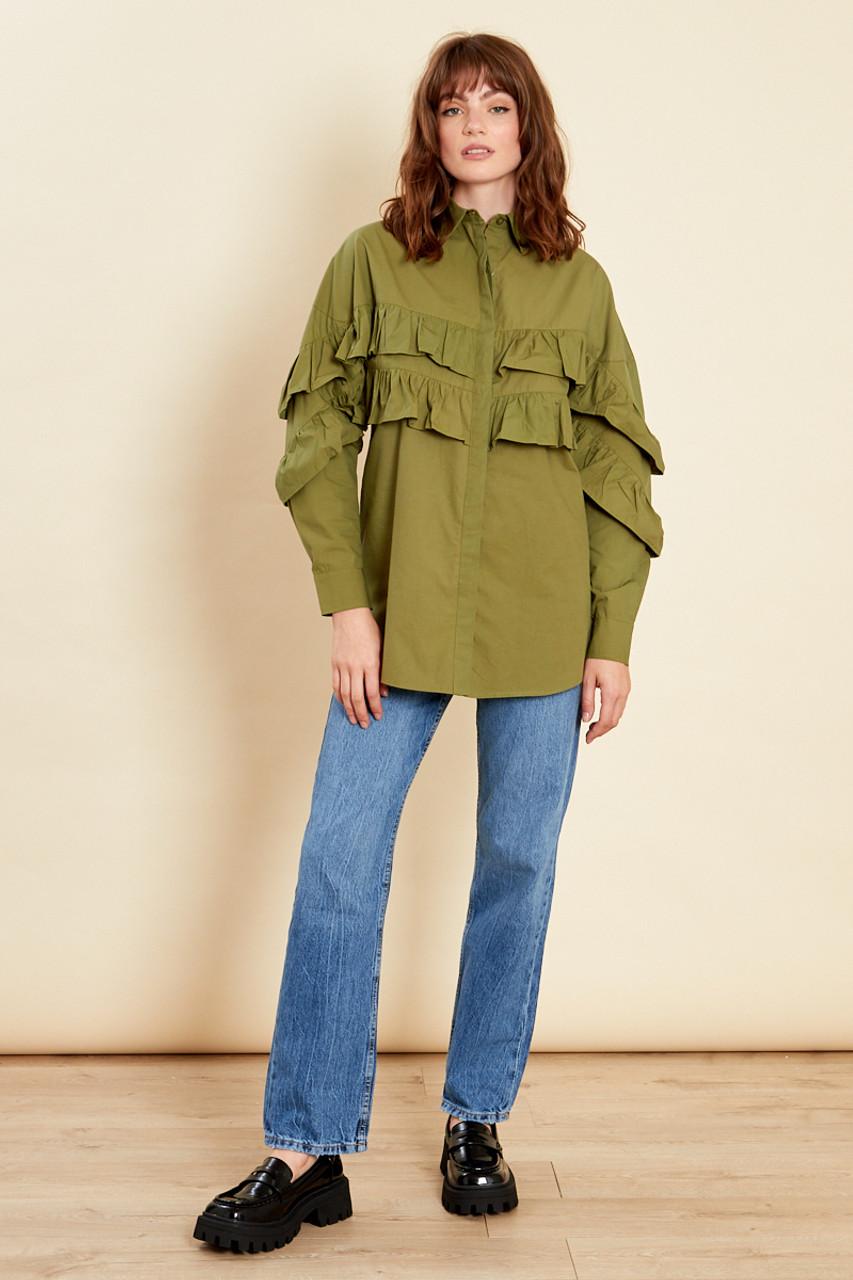 Khaki Frill Detail Cotton Shirt Dress