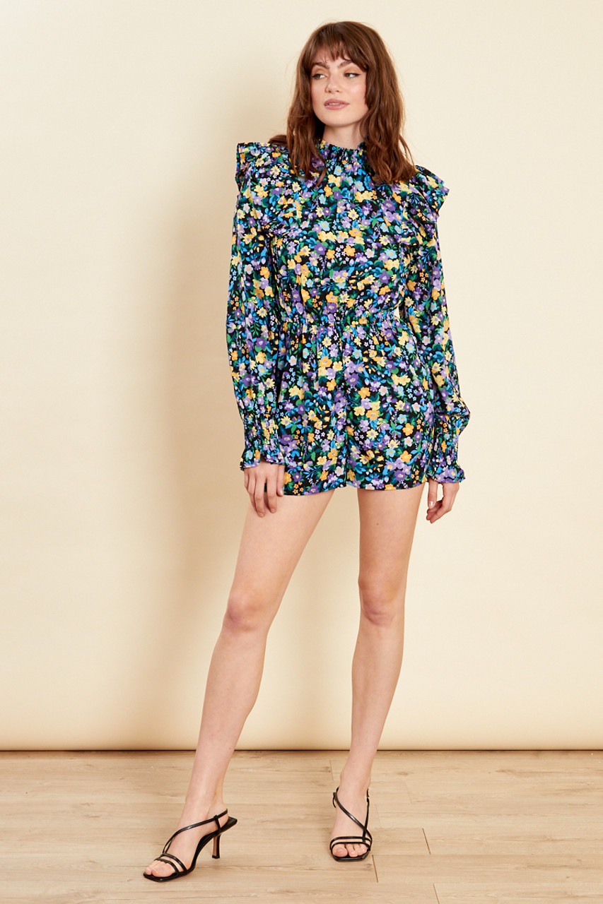 Multi High Neck Frill Playsuit