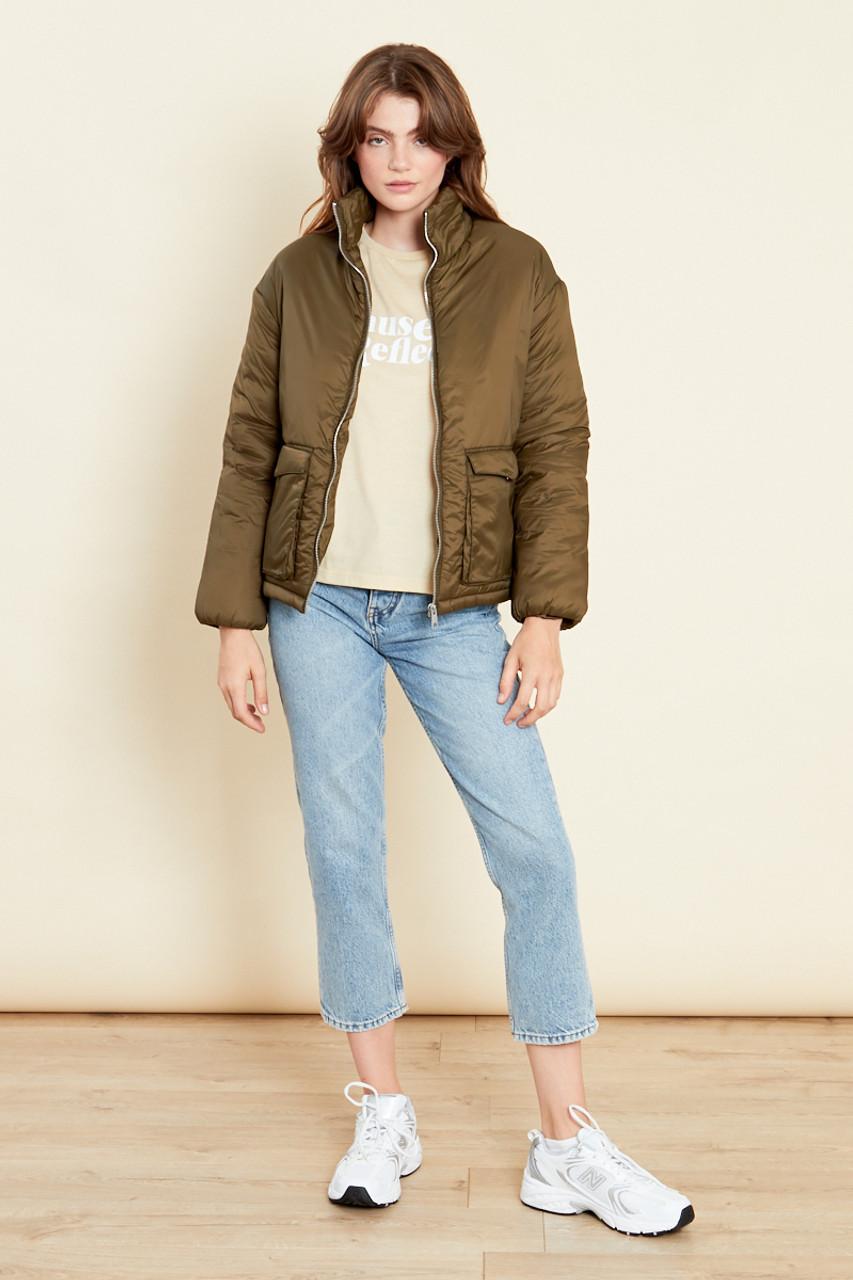 Khaki Oversized Jacket With Pockets