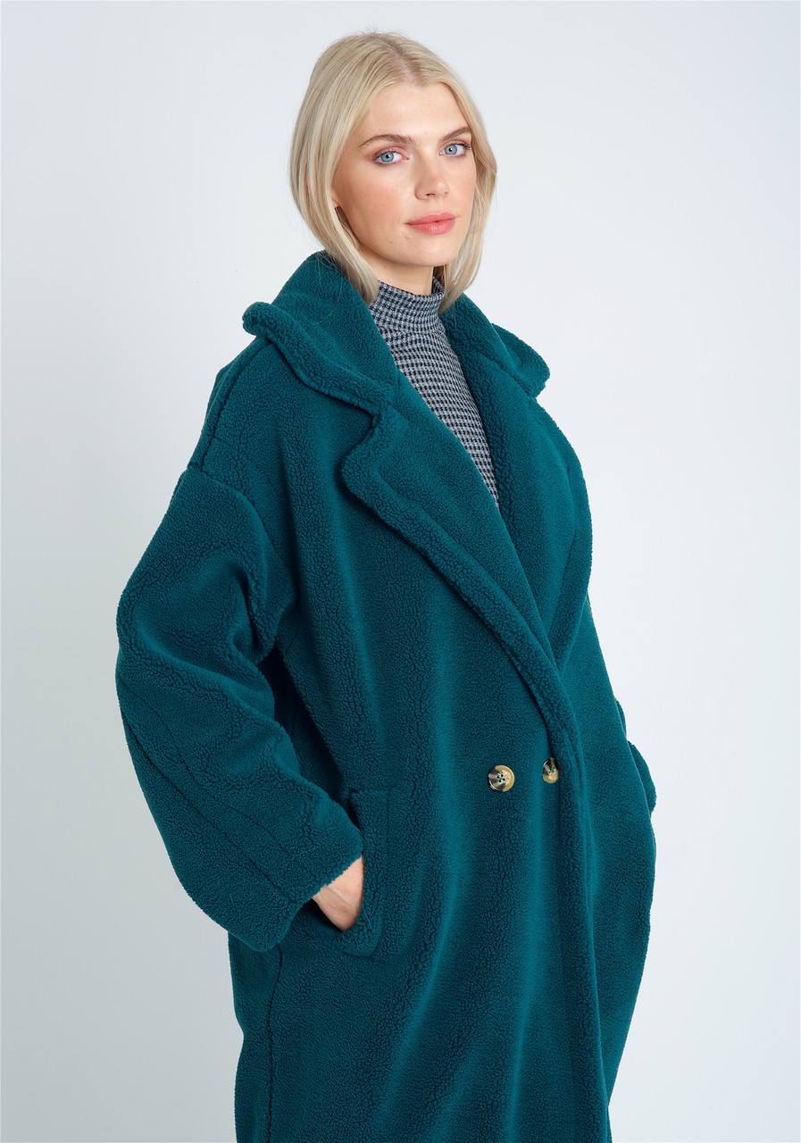 Oversized Longline DB Fastening Coat In Borg With Stitch Interest