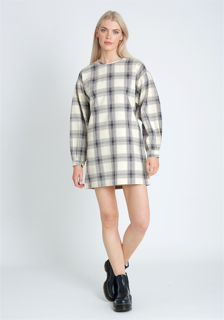 Short Length Brushed Check Dress With Dropped Shoulder And Puff Sleeve