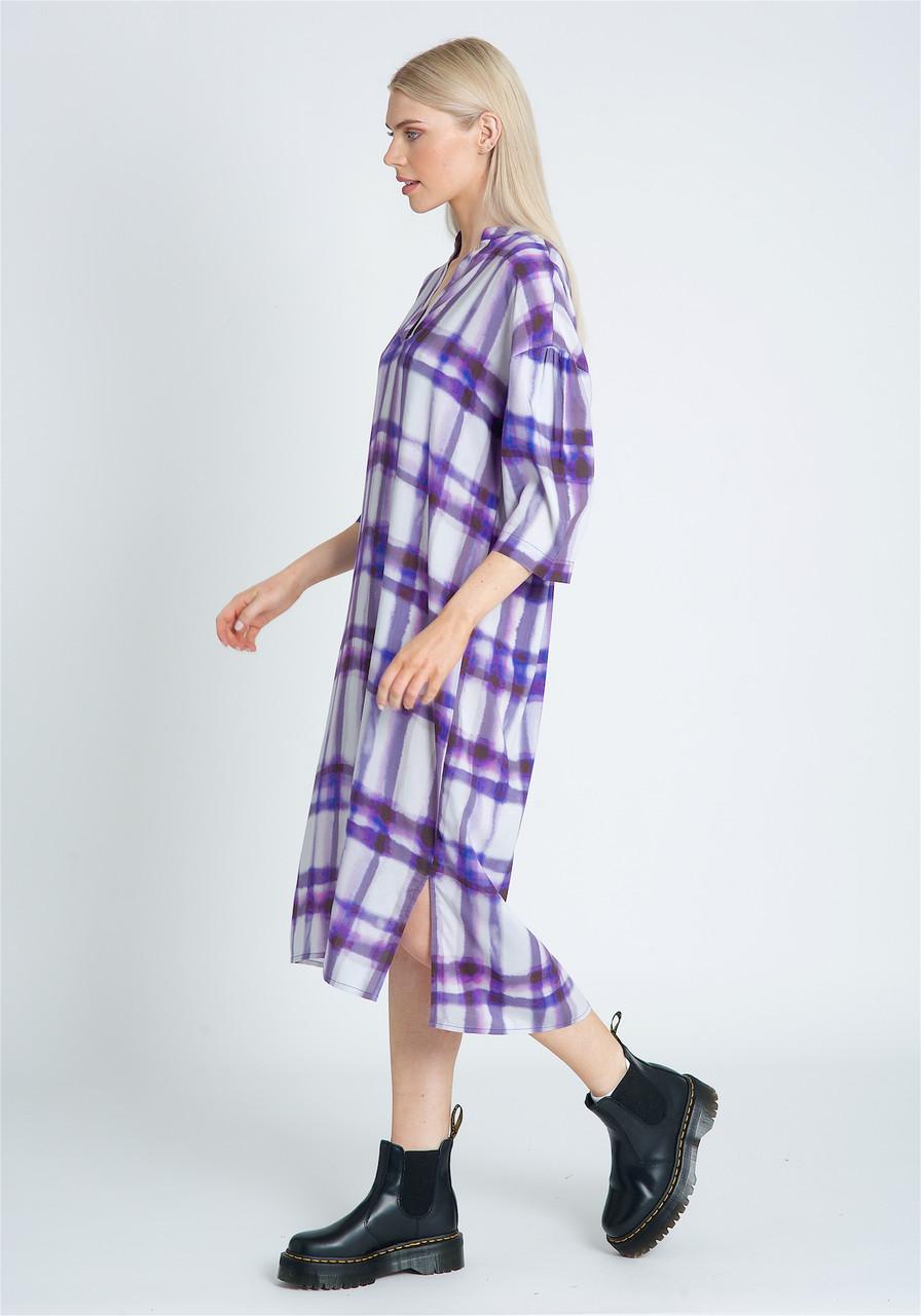 Eco Vera Printed Longline Smock Dress With Side Splits