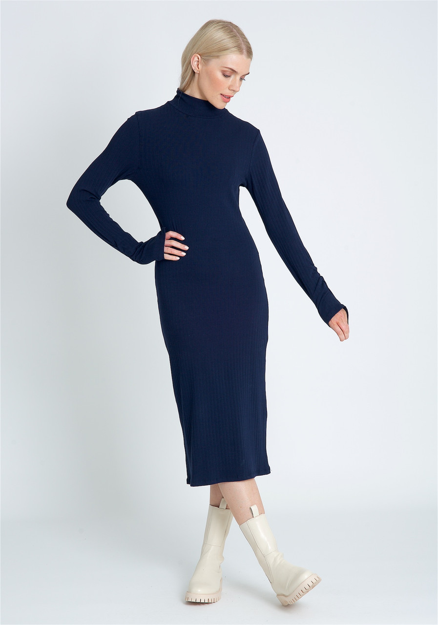 Fitted Midi Dress In Jersey Rib And High Neck