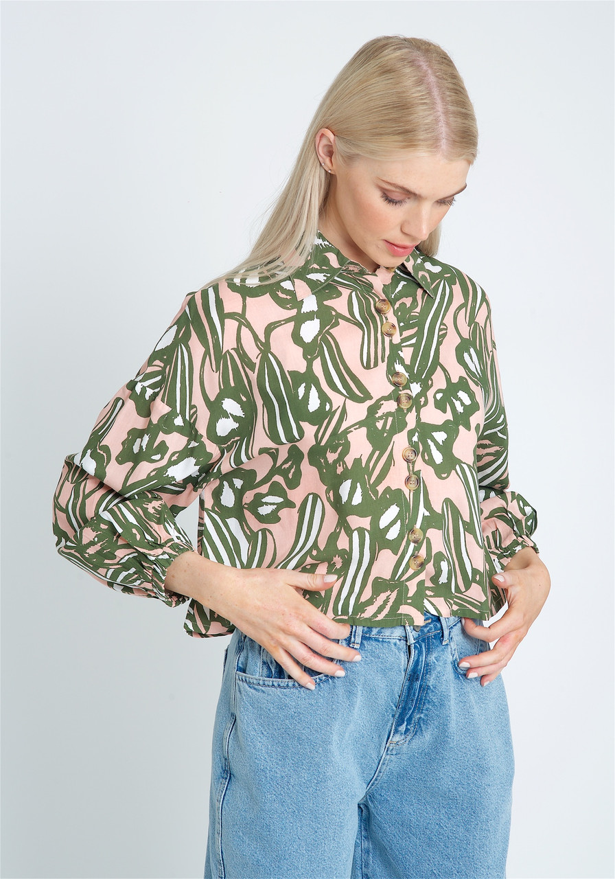 Eco Vera Printed Cropped Blouse With Statement Button Fastening And Pointed Collar