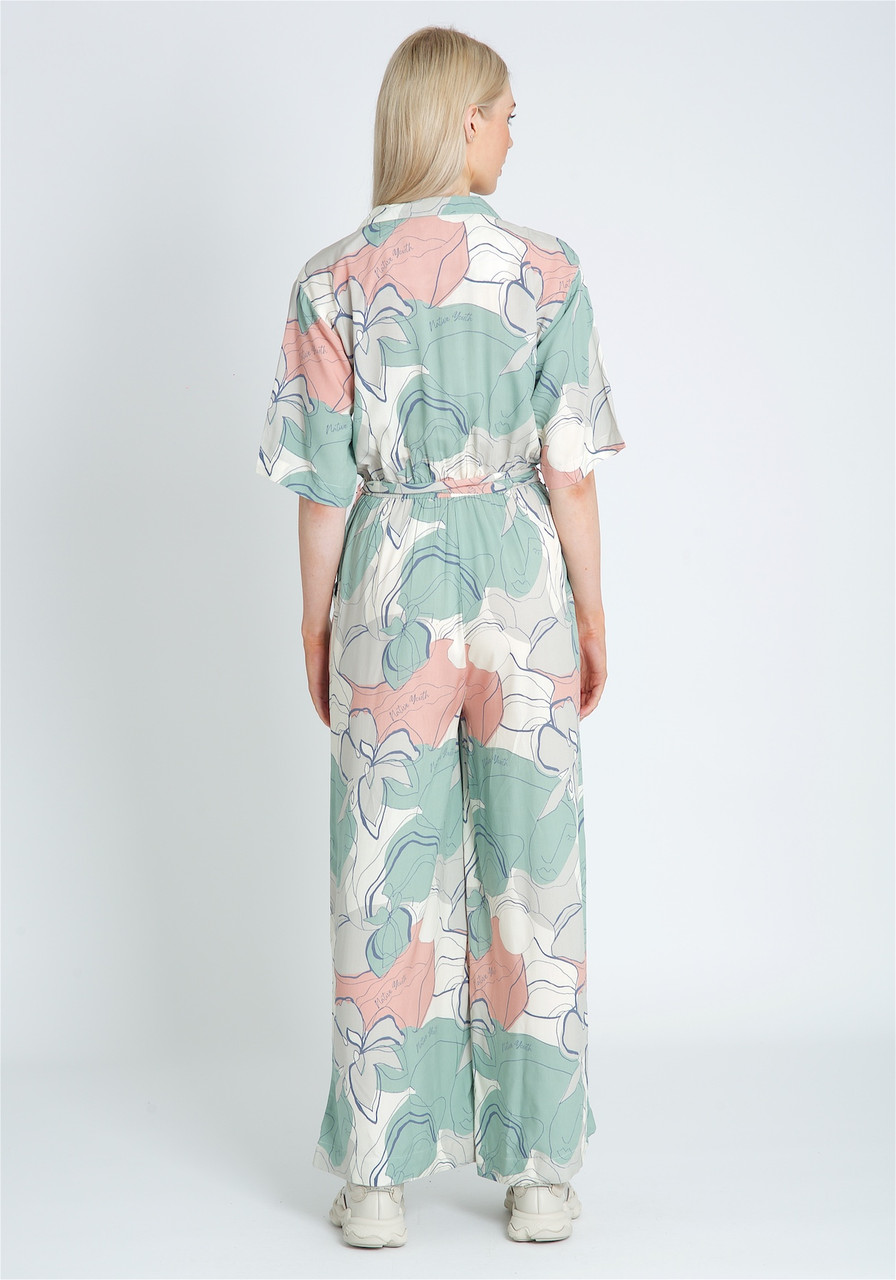 Eco Vera Printed Jumpsuit With Wrap Over Front And Stand Collar