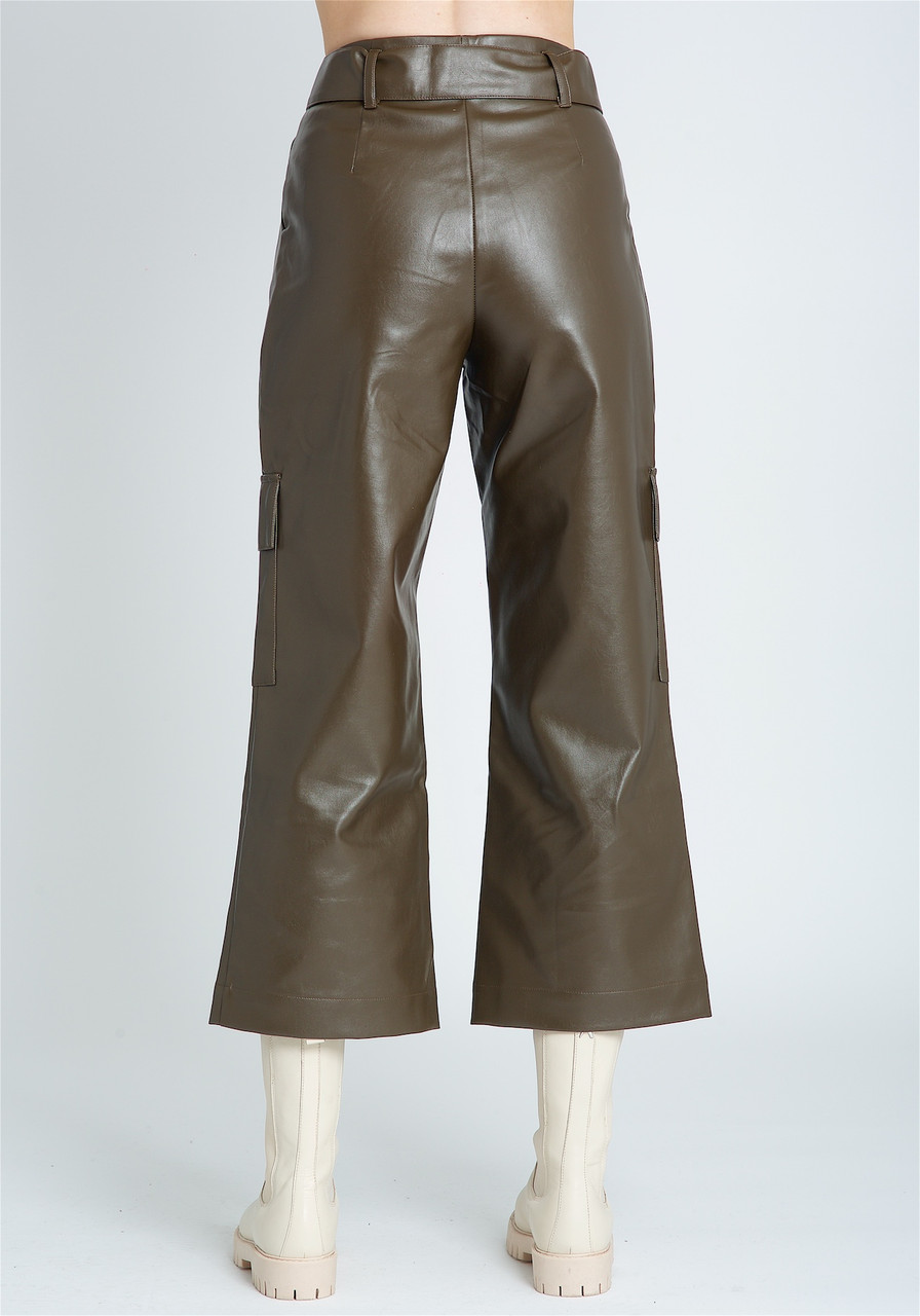 Wide Leg PU Cargo Trouser With Belt And Patch Pockets